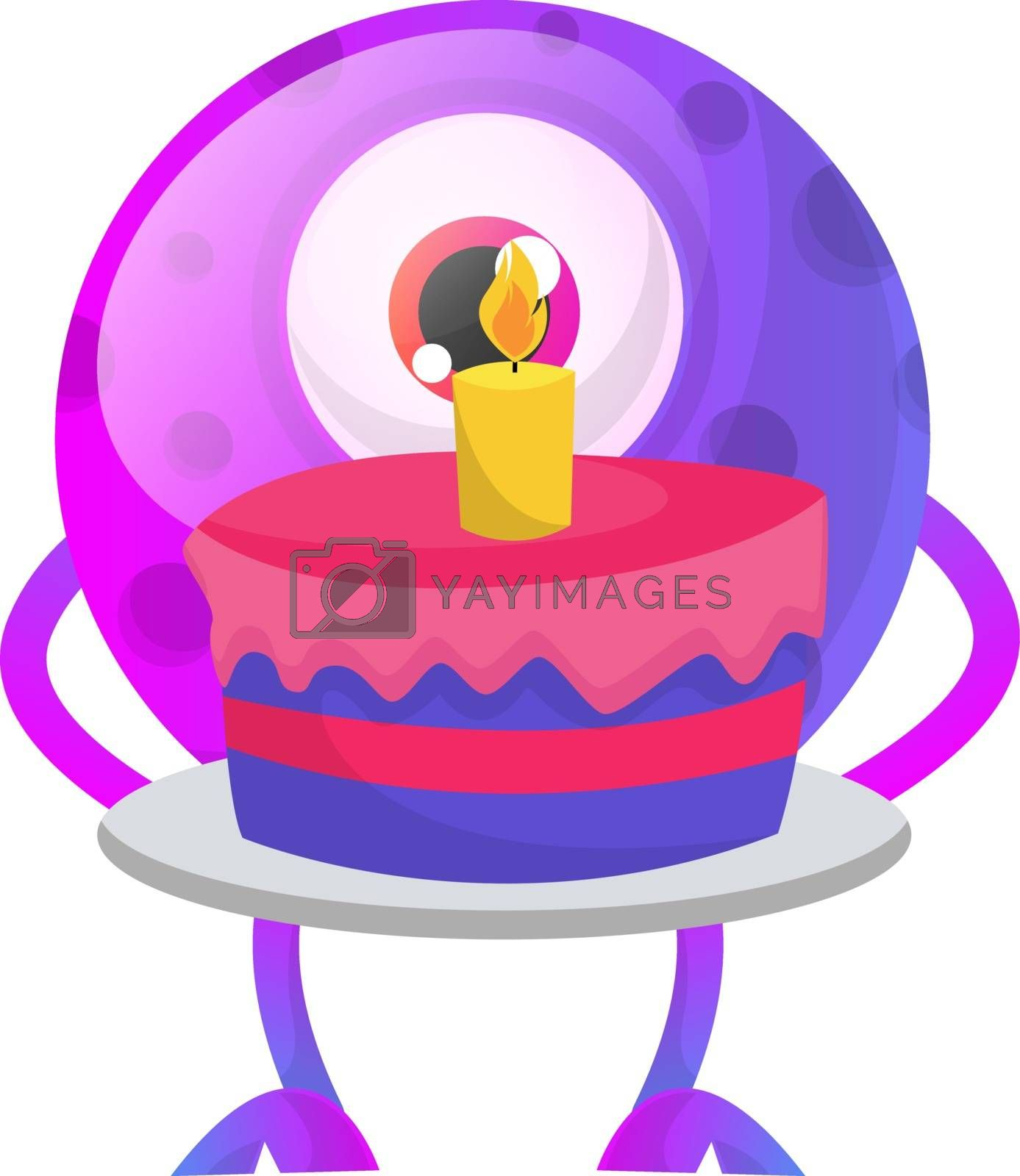 Royalty free image of Purple monster with birthday cake illustration vector on white b by Morphart