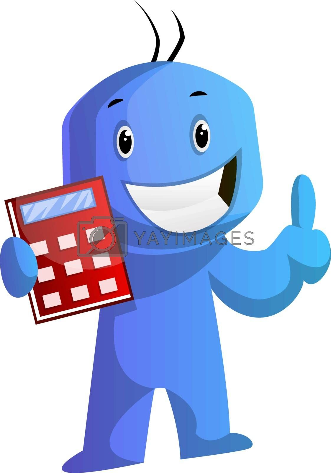Royalty free image of Blue cartoon caracter with his red calculator illustration vecto by Morphart
