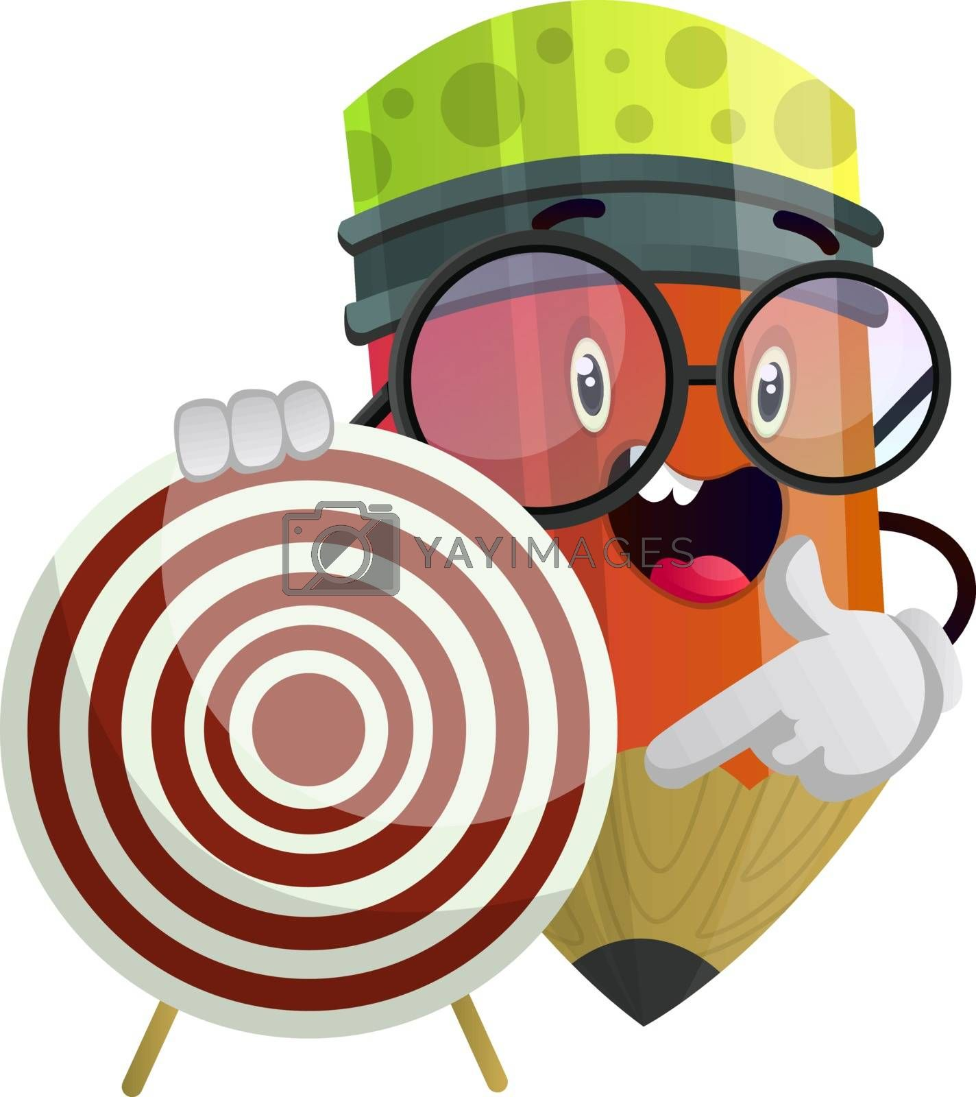 Royalty free image of Ped pencil holding dartboard that is red and white colored illus by Morphart