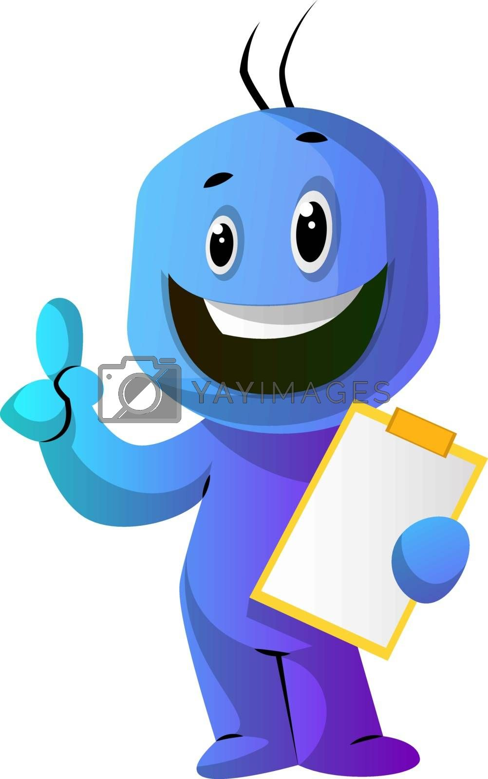 Royalty free image of Blue cartoon caracter with a thumb up and a notepad illustration by Morphart