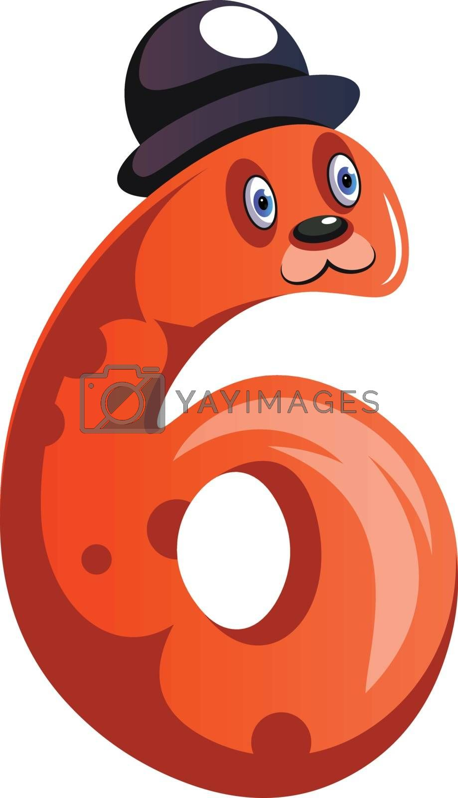 Royalty free image of Orange monster with a hat and number six shape illustration vect by Morphart