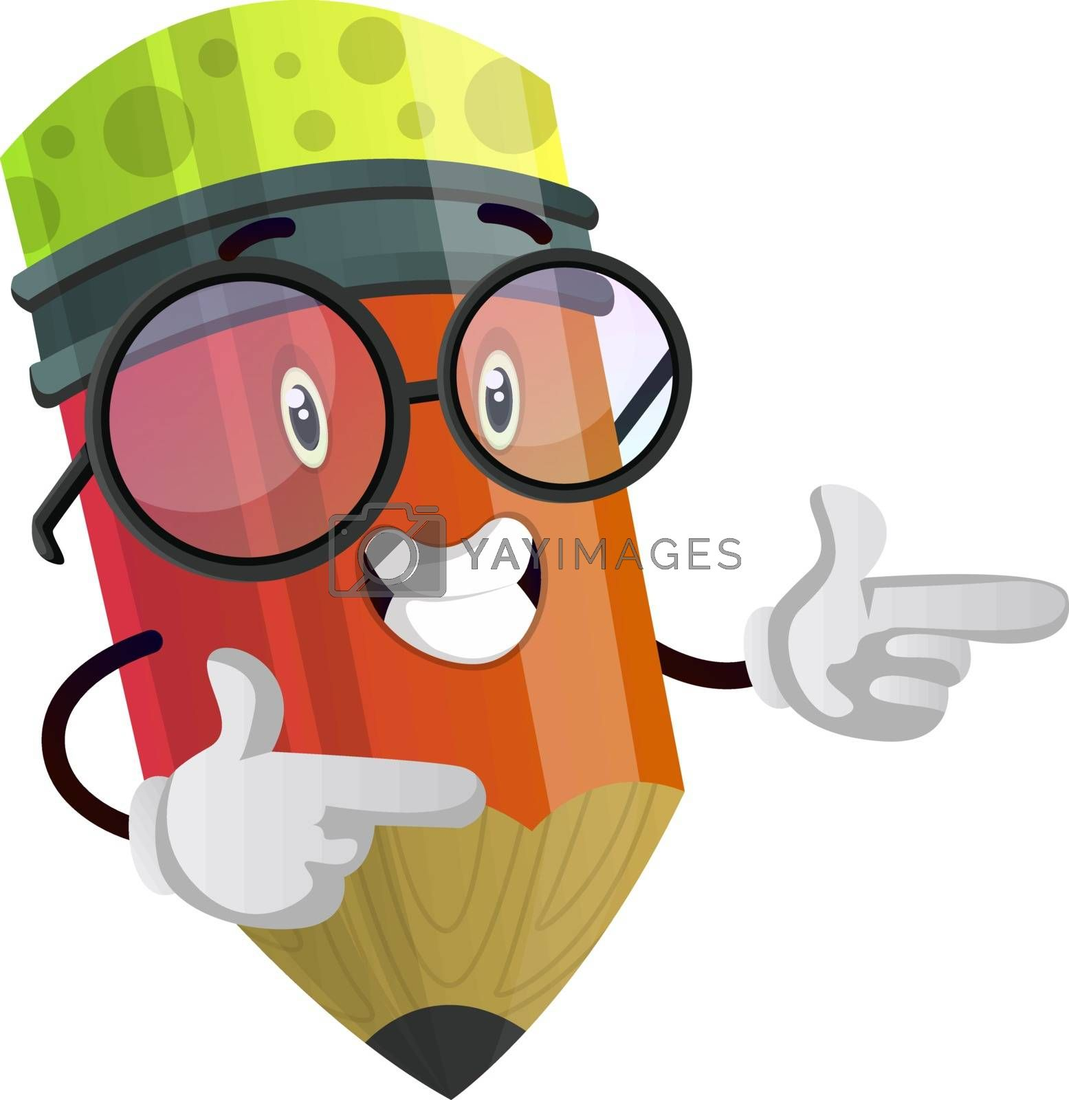 Royalty free image of Happy pencil is pointing at something with both hands illustrati by Morphart