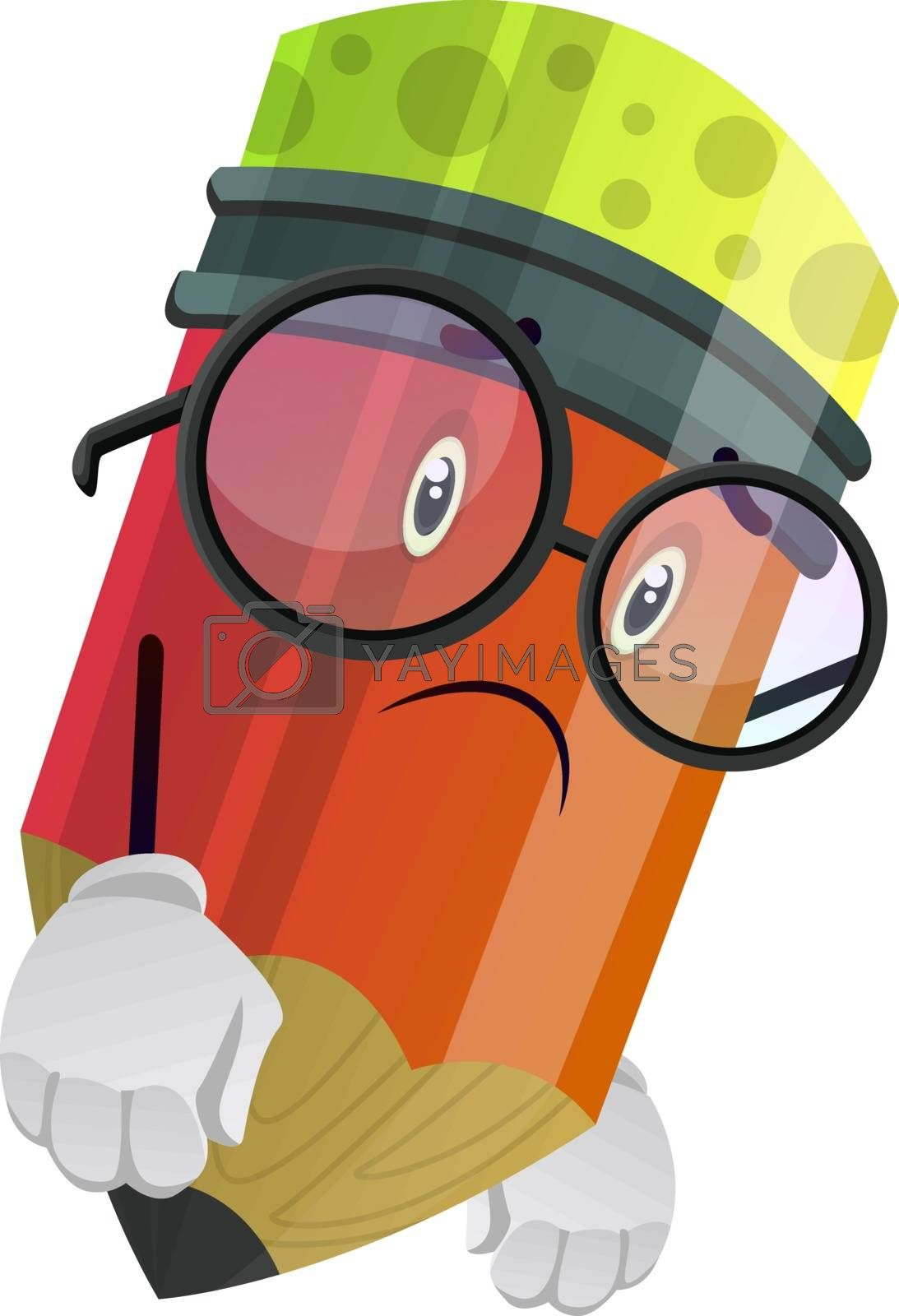 Royalty free image of Red pencil look disappointed illustration vector on white backgr by Morphart