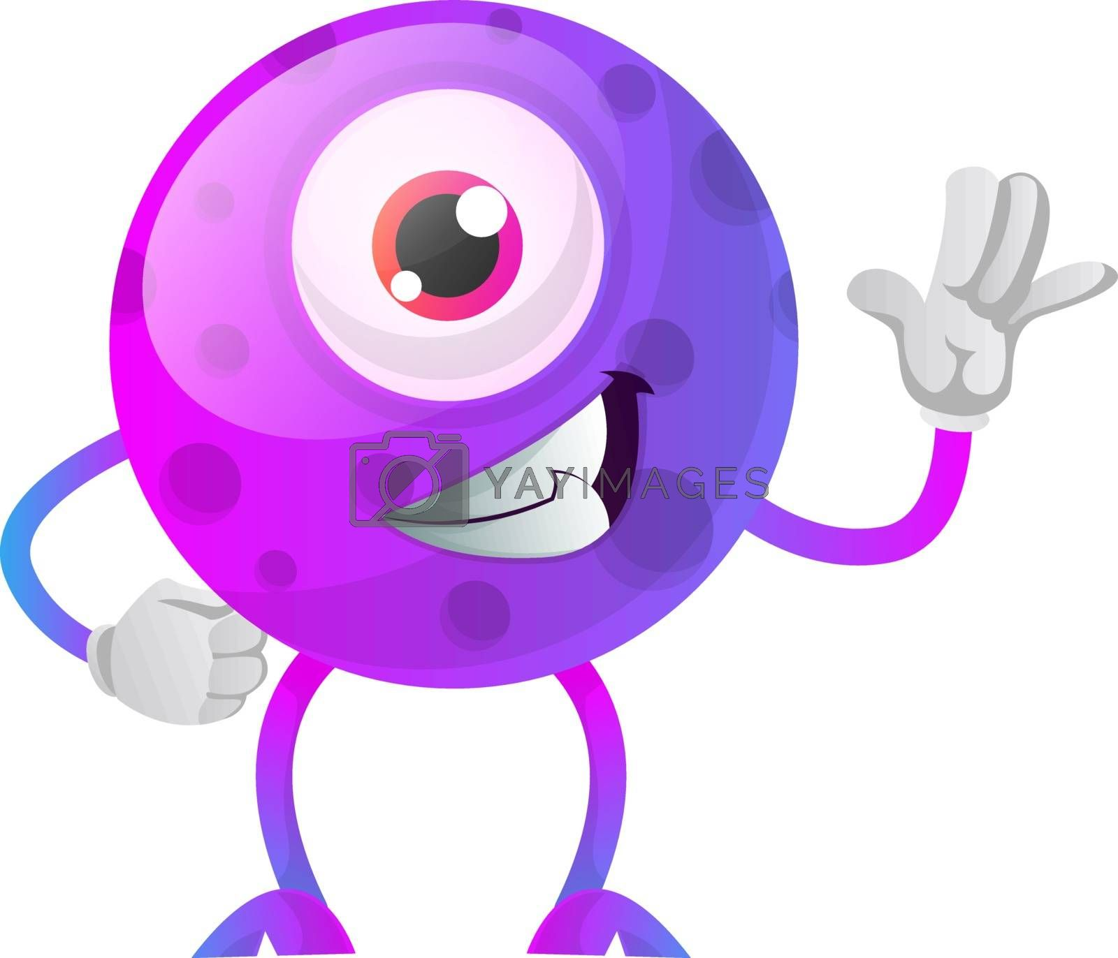 Royalty free image of Cool one eyed purple monster waving illustration vector on white by Morphart