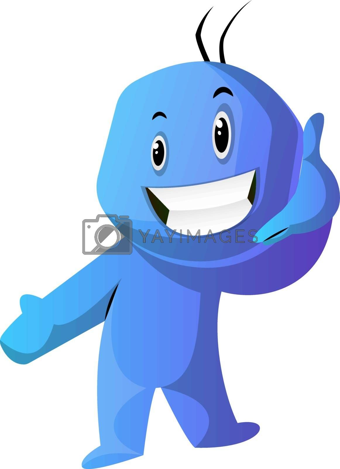 Royalty free image of Blue cartoon caracter showing a phone sign illustration vector o by Morphart