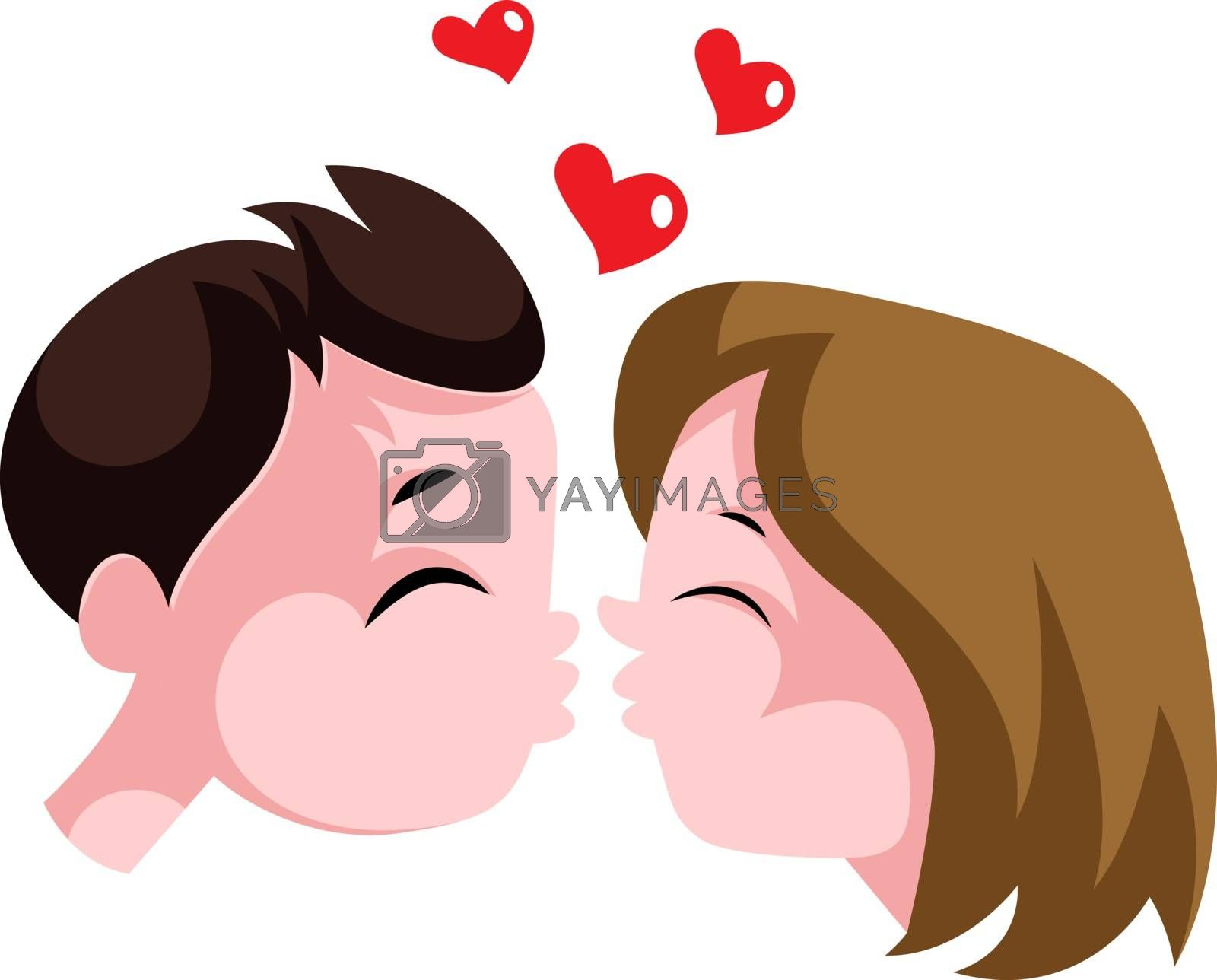 Royalty free image of Young boy and a girl in love illustration vector on white backgr by Morphart