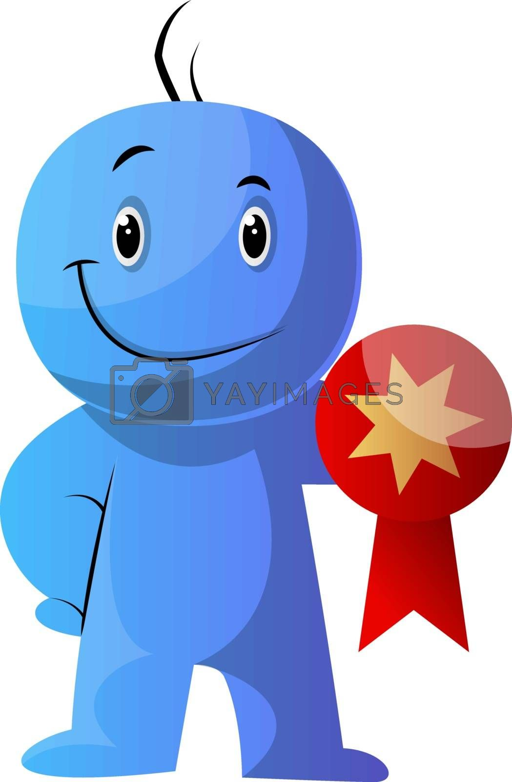 Royalty free image of Blue cartoon caracter hodling a medal illustration vector on whi by Morphart