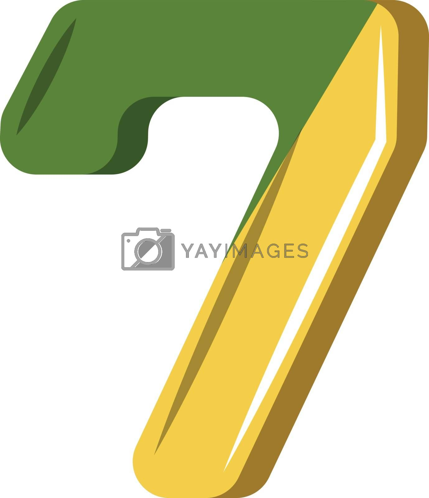 Royalty free image of Number seven in green and yellow illustration vector on white ba by Morphart