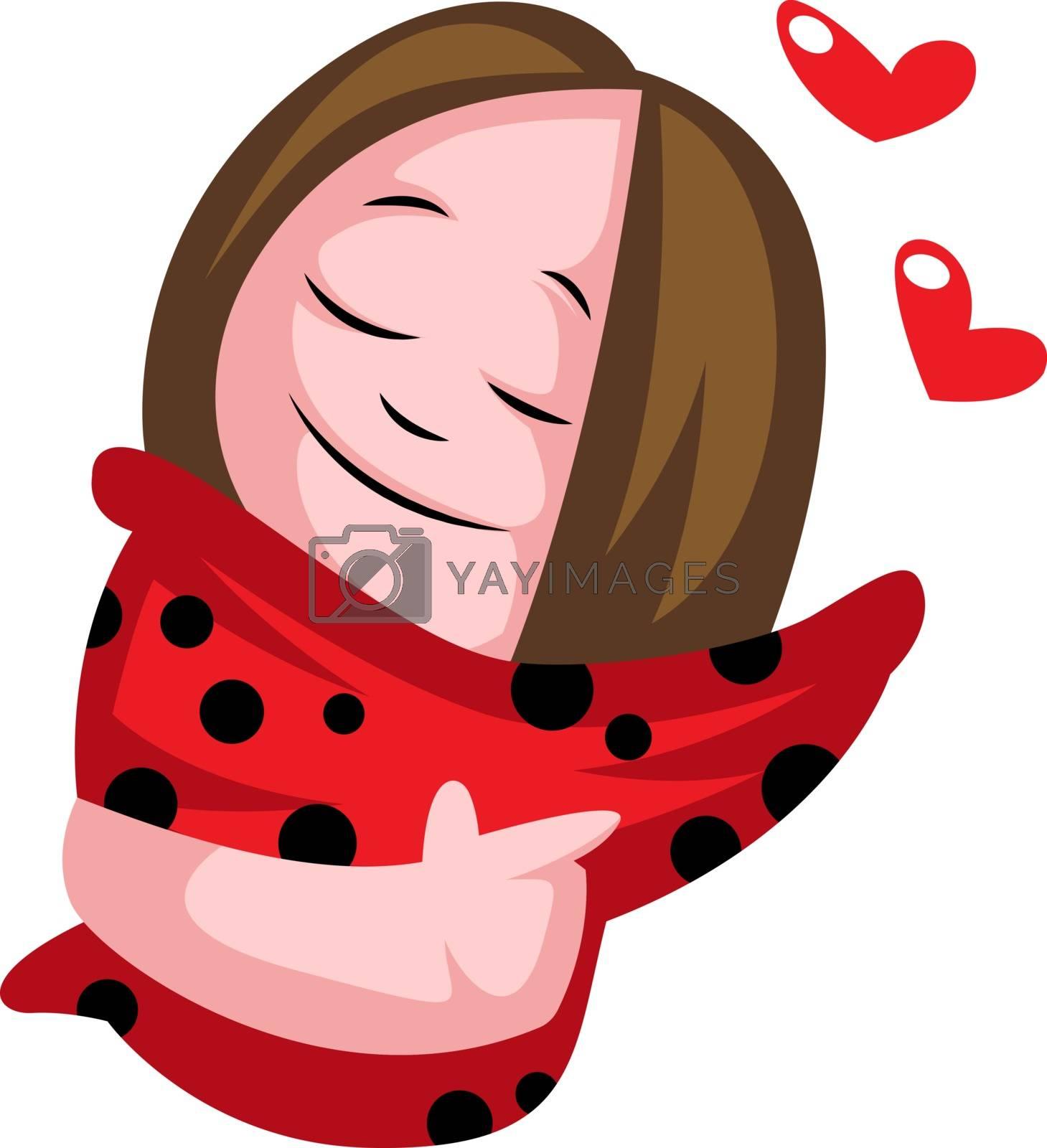 Royalty free image of Little teenage girl in love illustration vector on white backgro by Morphart