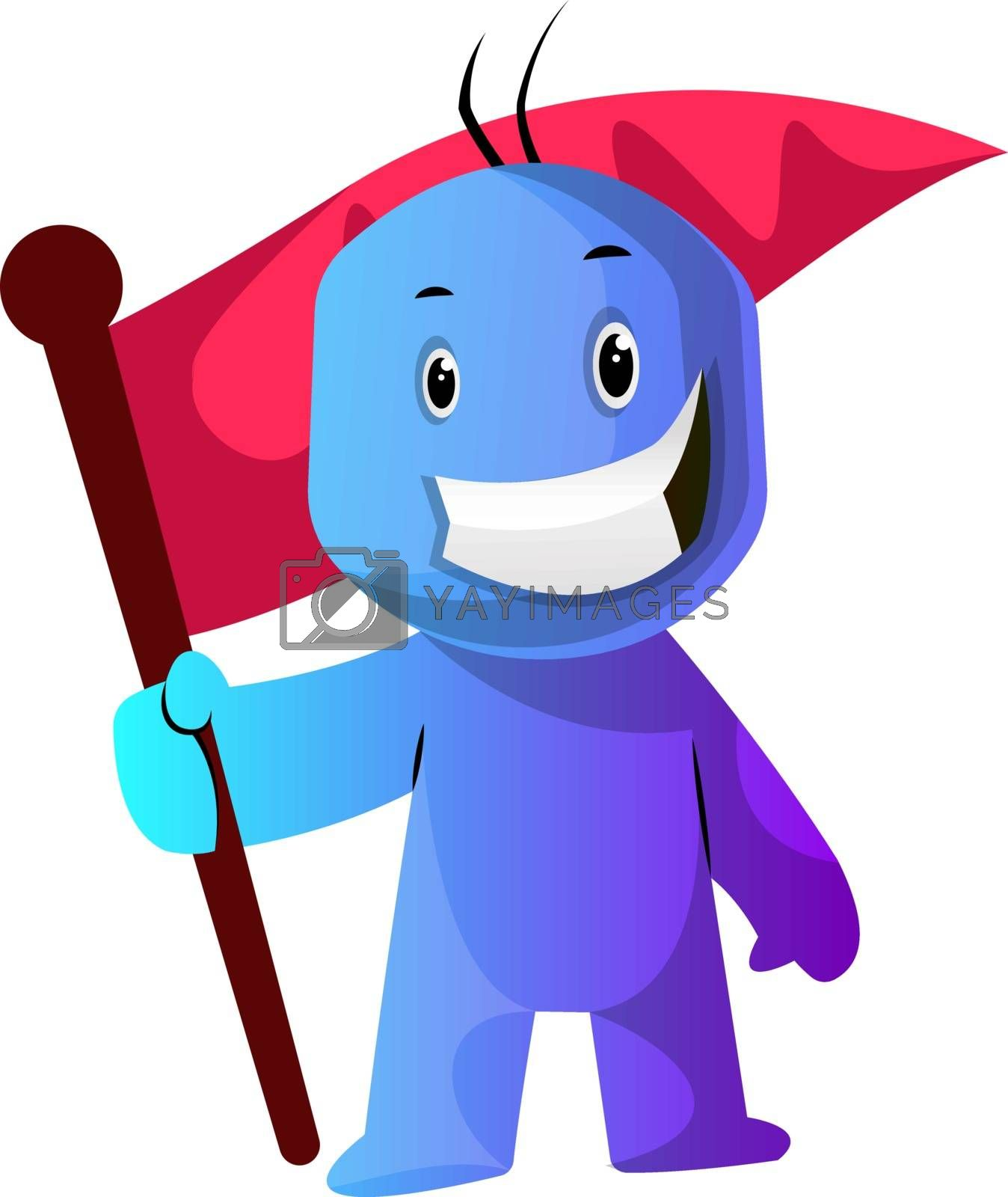 Royalty free image of Blue cartoon caracter with a flag illustration vector on white b by Morphart