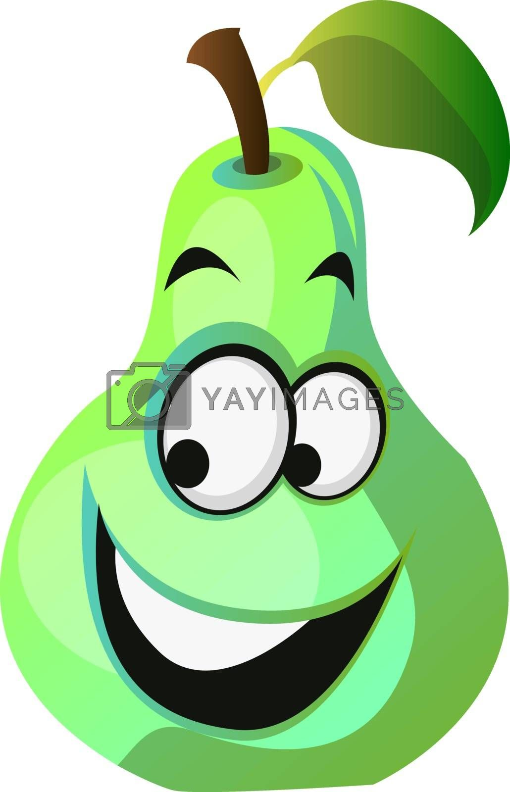 Royalty free image of Happy pear cartoon face illustration vector on white background by Morphart