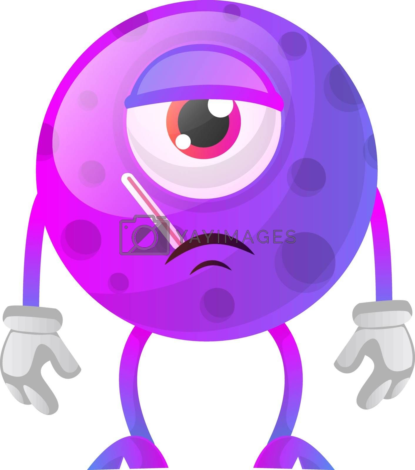 Royalty free image of One eyed sick purple monster illustration vector on white backgr by Morphart