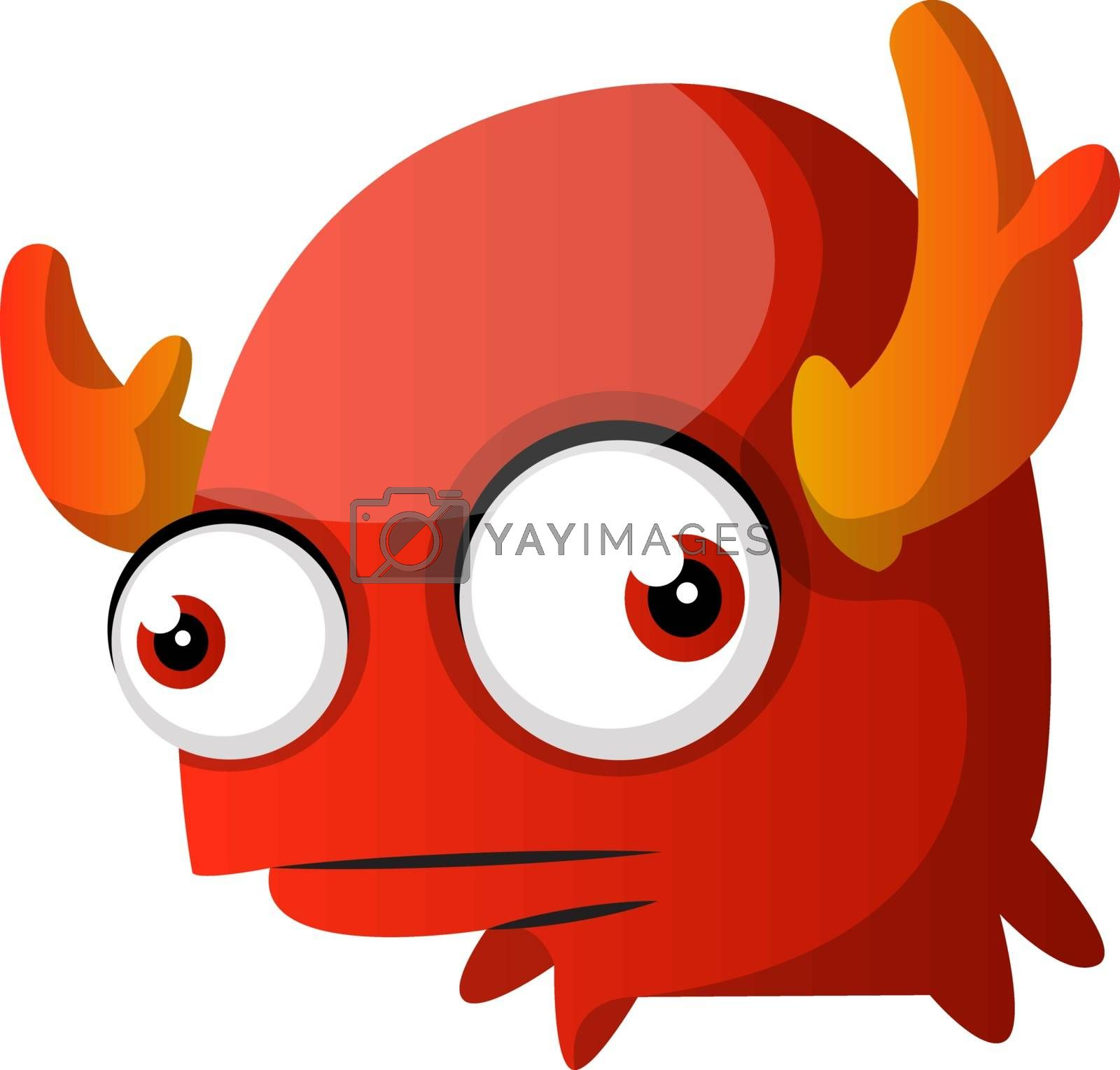 Royalty free image of Confused red monster with horns illustration vector on white bac by Morphart