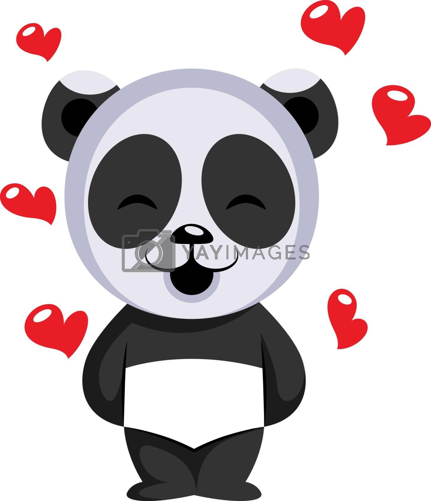 Royalty free image of Little panda bear in love illustration vector on white backgroun by Morphart