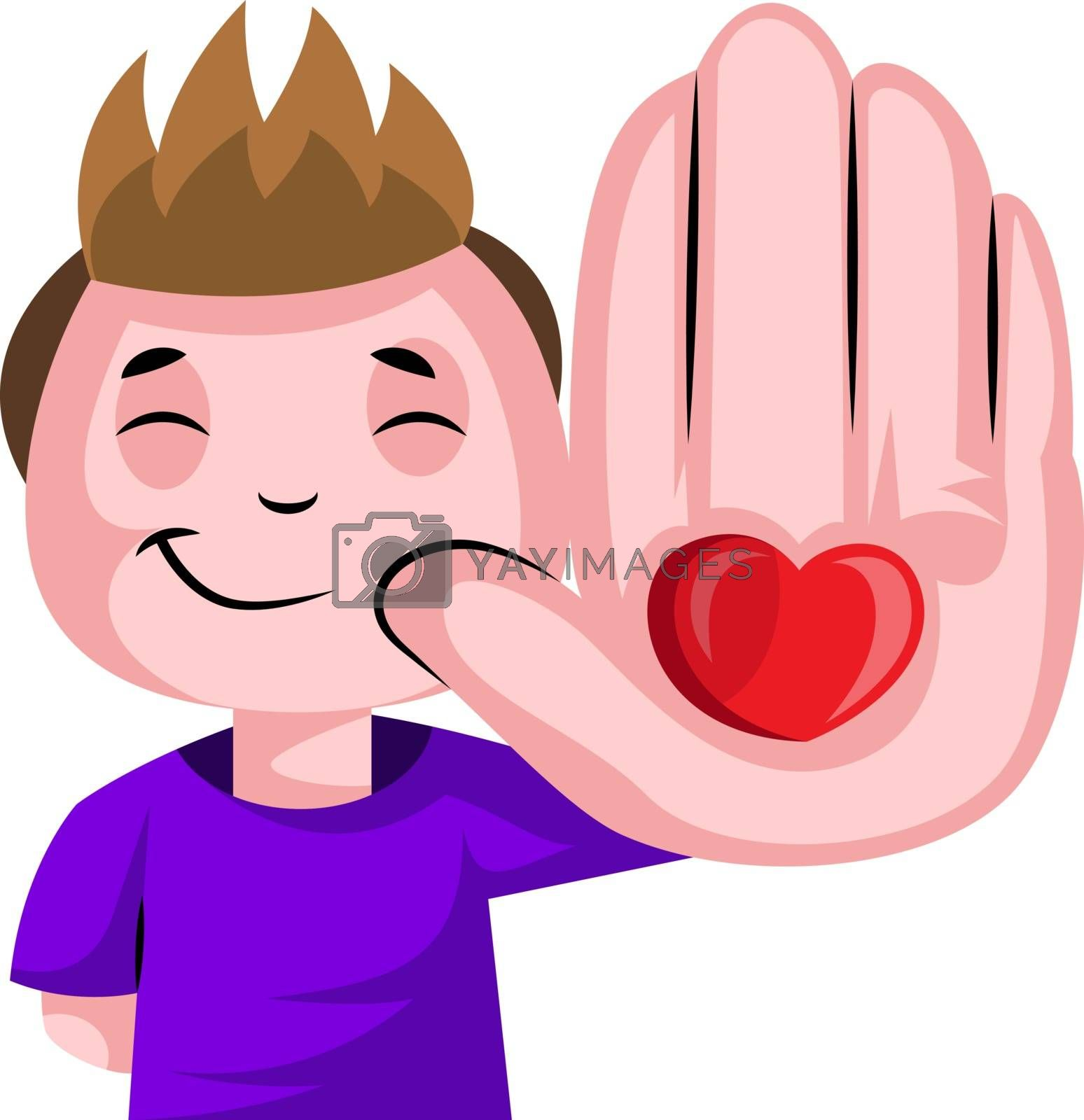 Royalty free image of Boy with heart on his palm illustration vector on white backgrou by Morphart