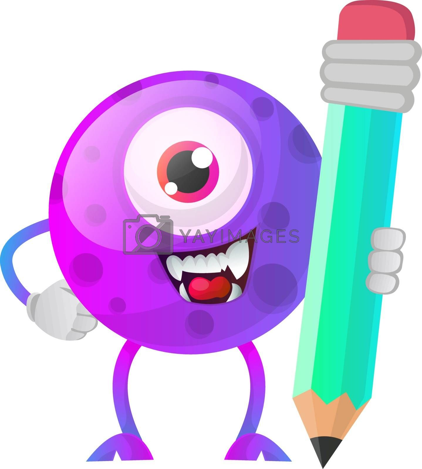 Royalty free image of One eyed purple monster holding a huge pen illustration vector o by Morphart
