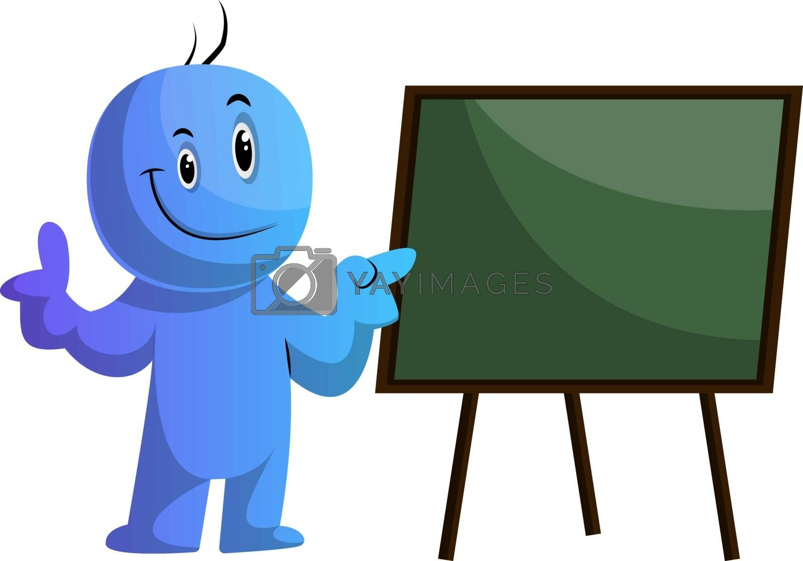 Royalty free image of Blue cartoon caracter and the board illustration vector on white by Morphart