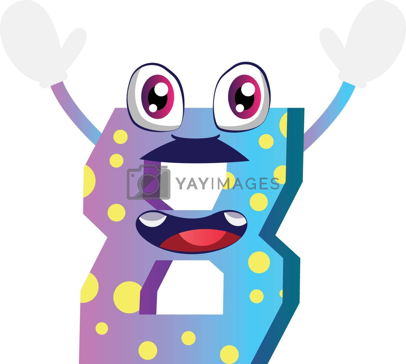 Royalty free image of Number eiight monster with hands up illustration vector on white by Morphart