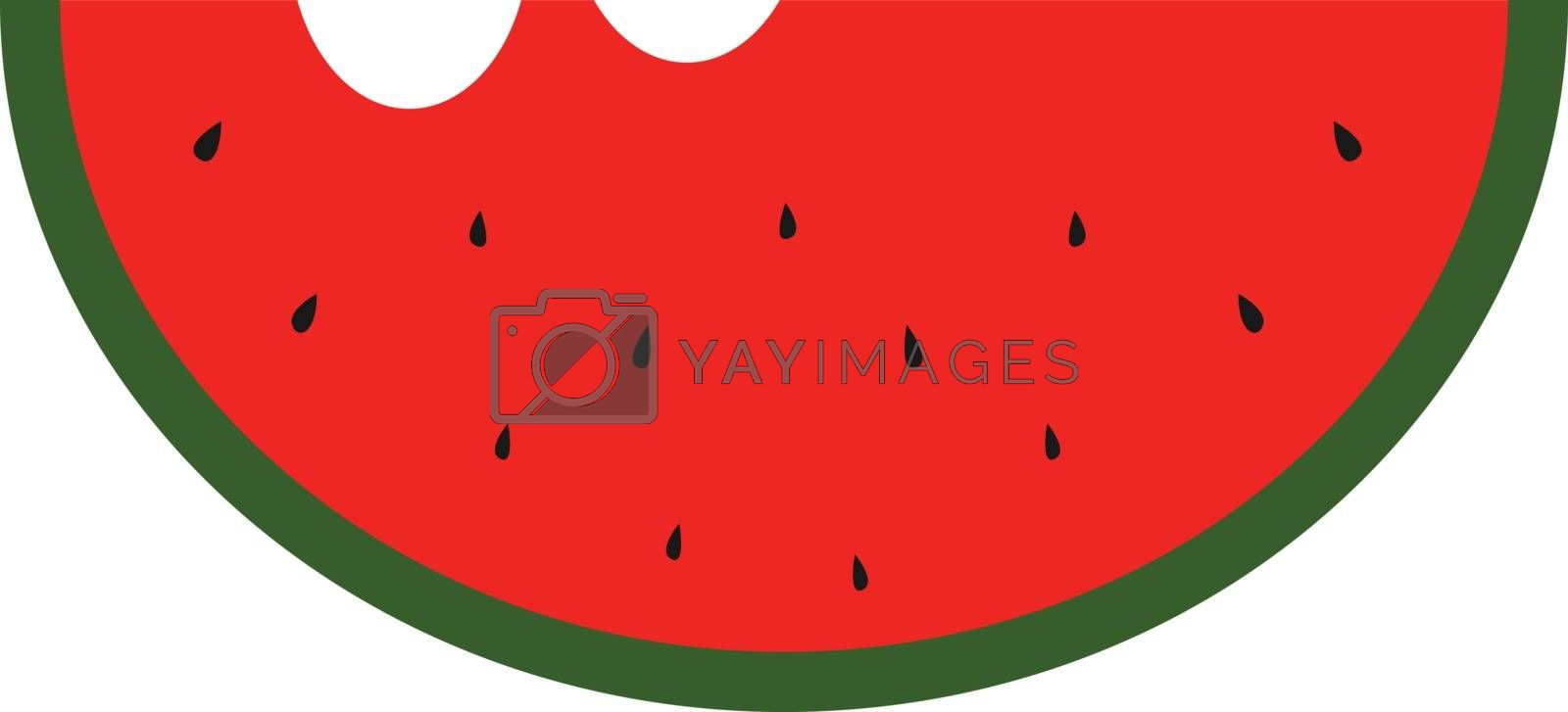 Royalty free image of Clipart of a sliced waternelon with two bites and black seeds ex by Morphart