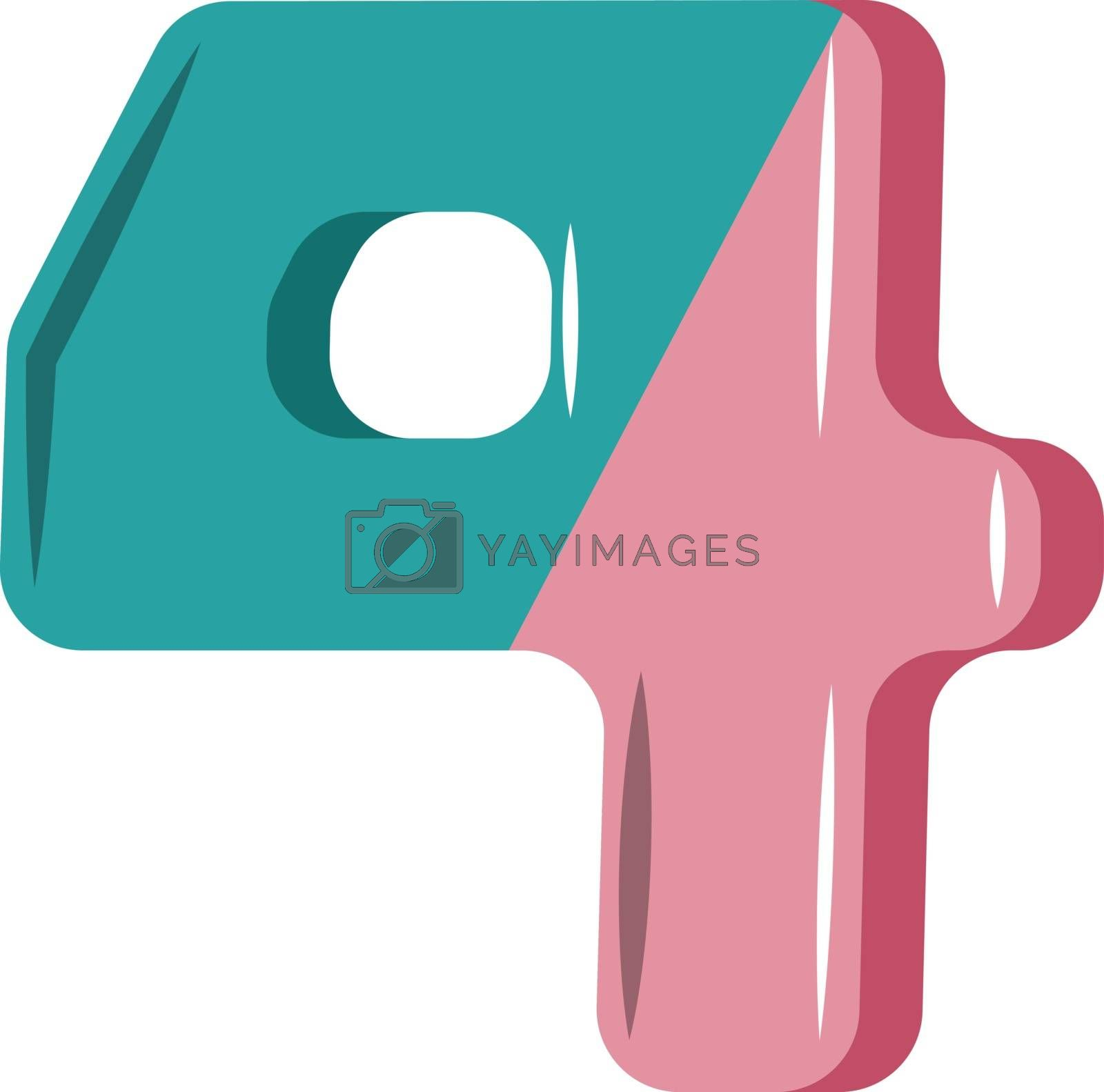 Royalty free image of Pink and blue number four illustration vector on white backgroun by Morphart