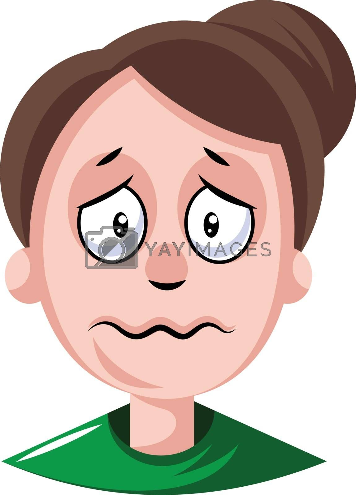 Royalty free image of Woman with hair tied in a bun is depressed illustration vector o by Morphart