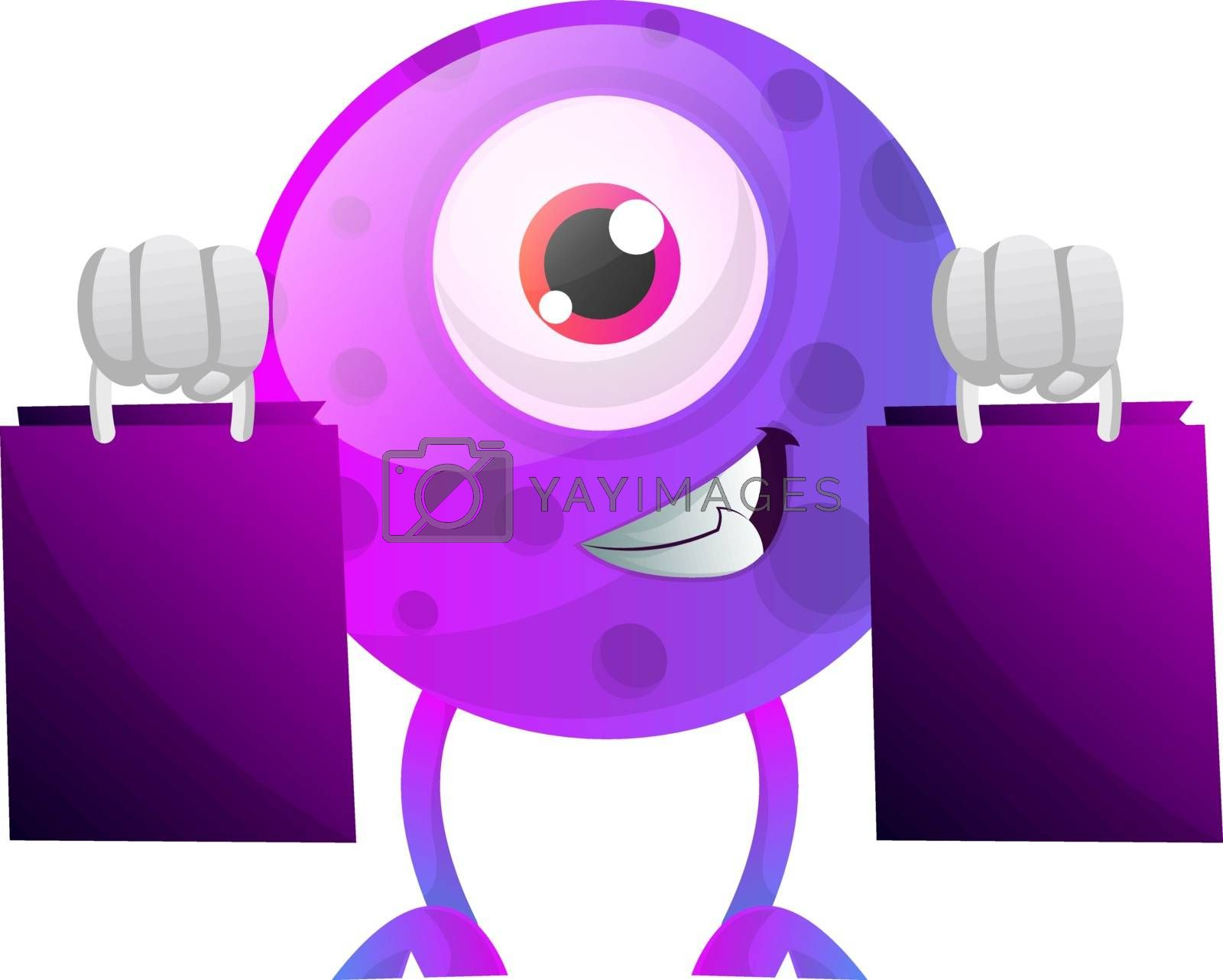 Royalty free image of Purple monster with shopping bags illustration vector on white b by Morphart