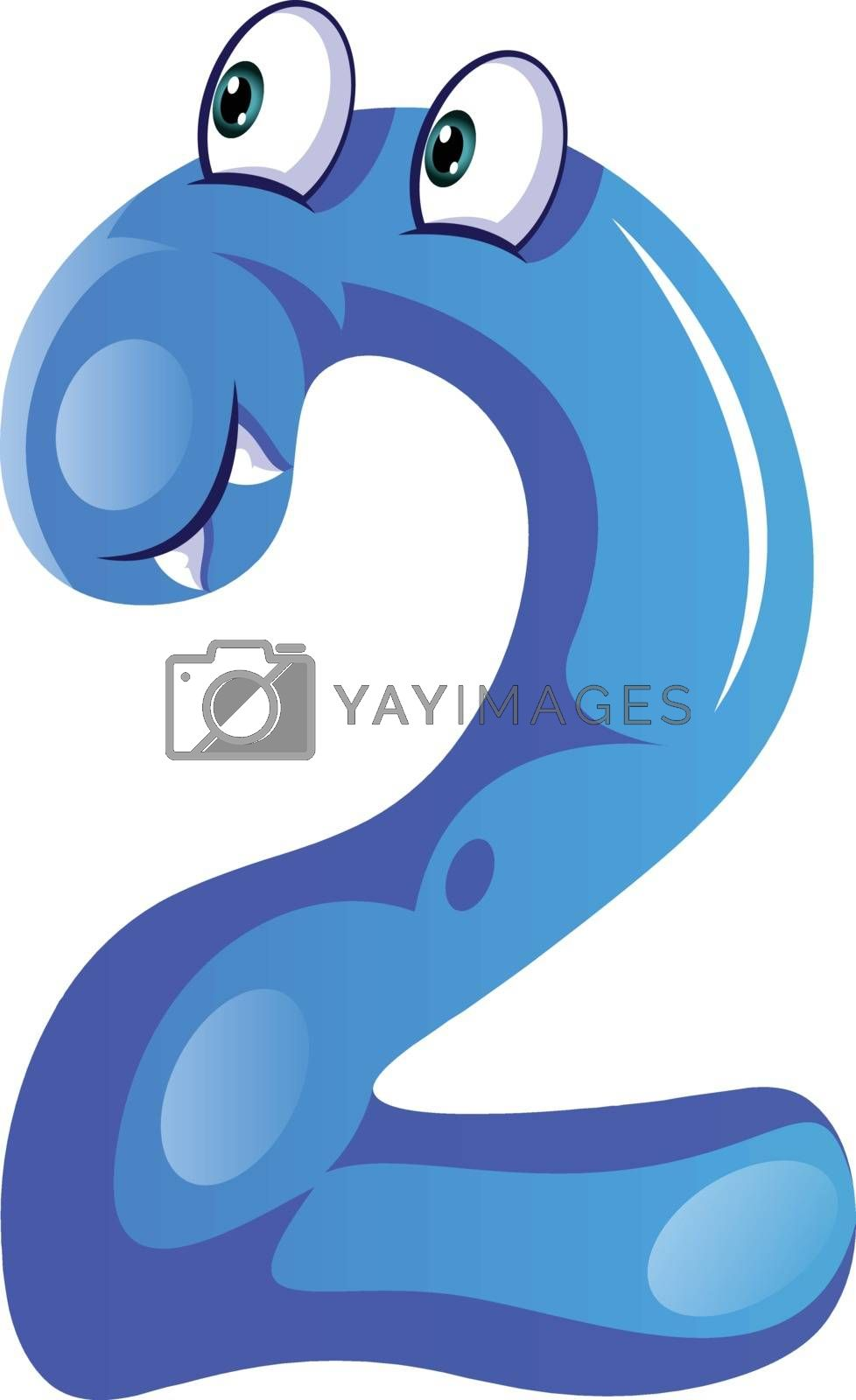 Royalty free image of Blue monster in number two shape illustration vector on white ba by Morphart