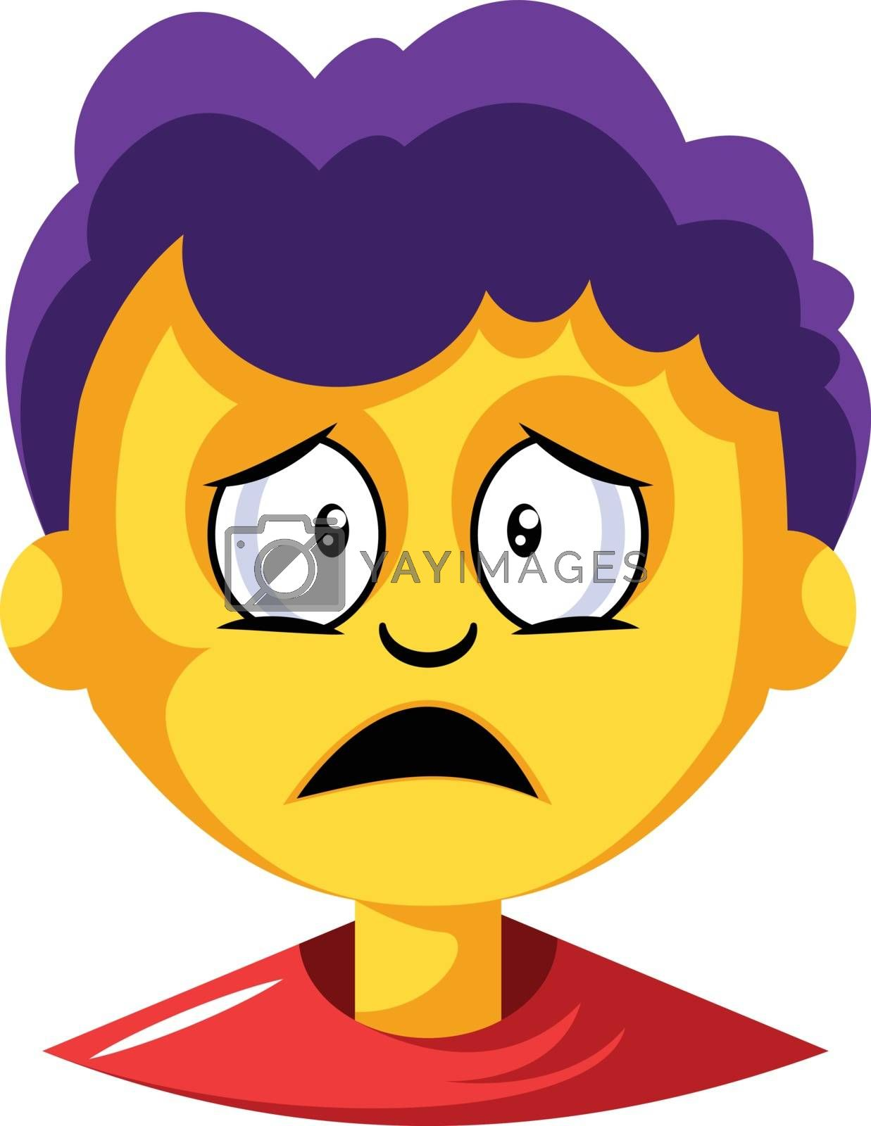 Royalty free image of Young boy with purple hair is depressed illustration vector on w by Morphart
