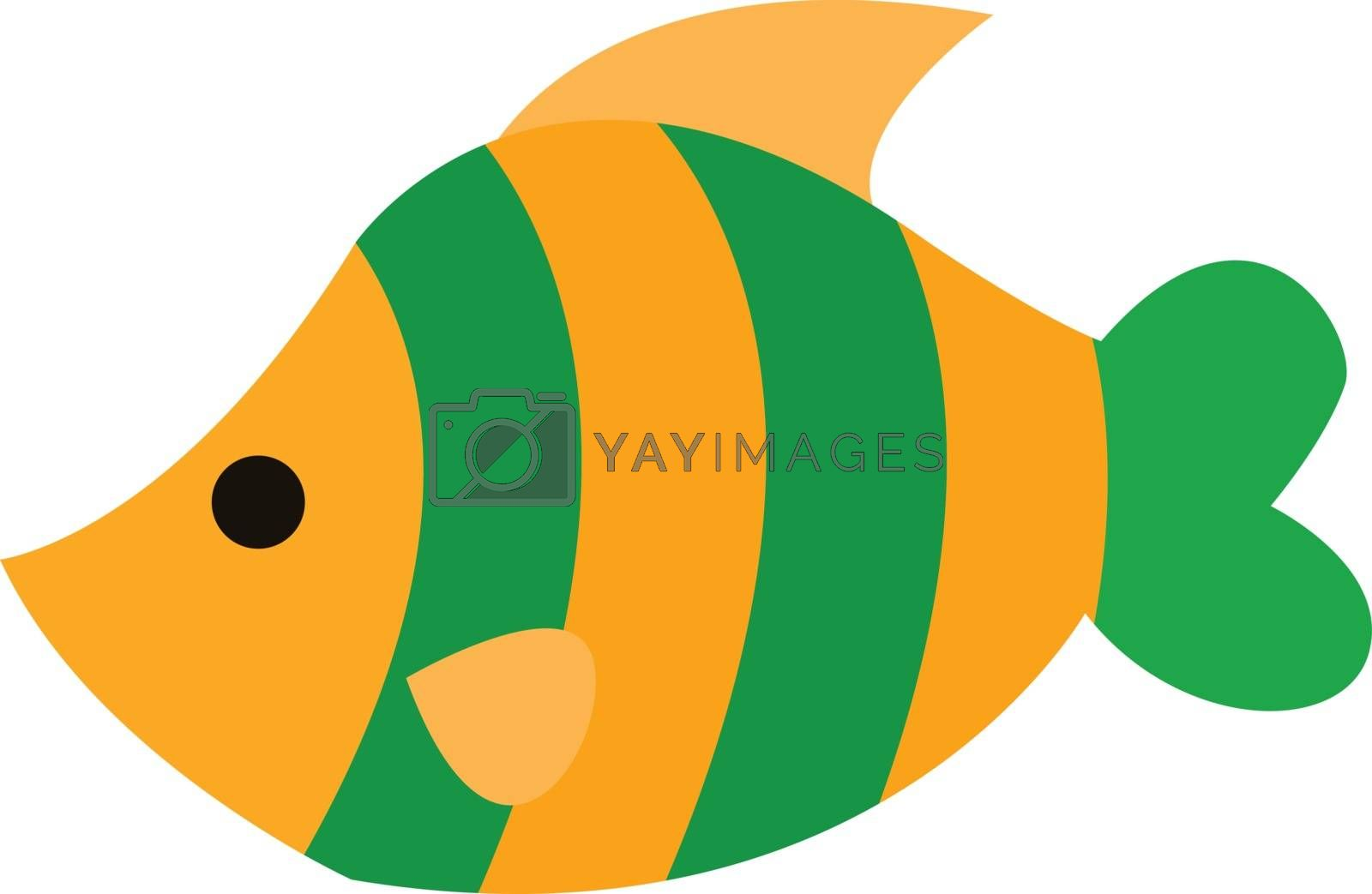 Royalty free image of Clipart of a beautiful yellow fish with two green bands as scale by Morphart
