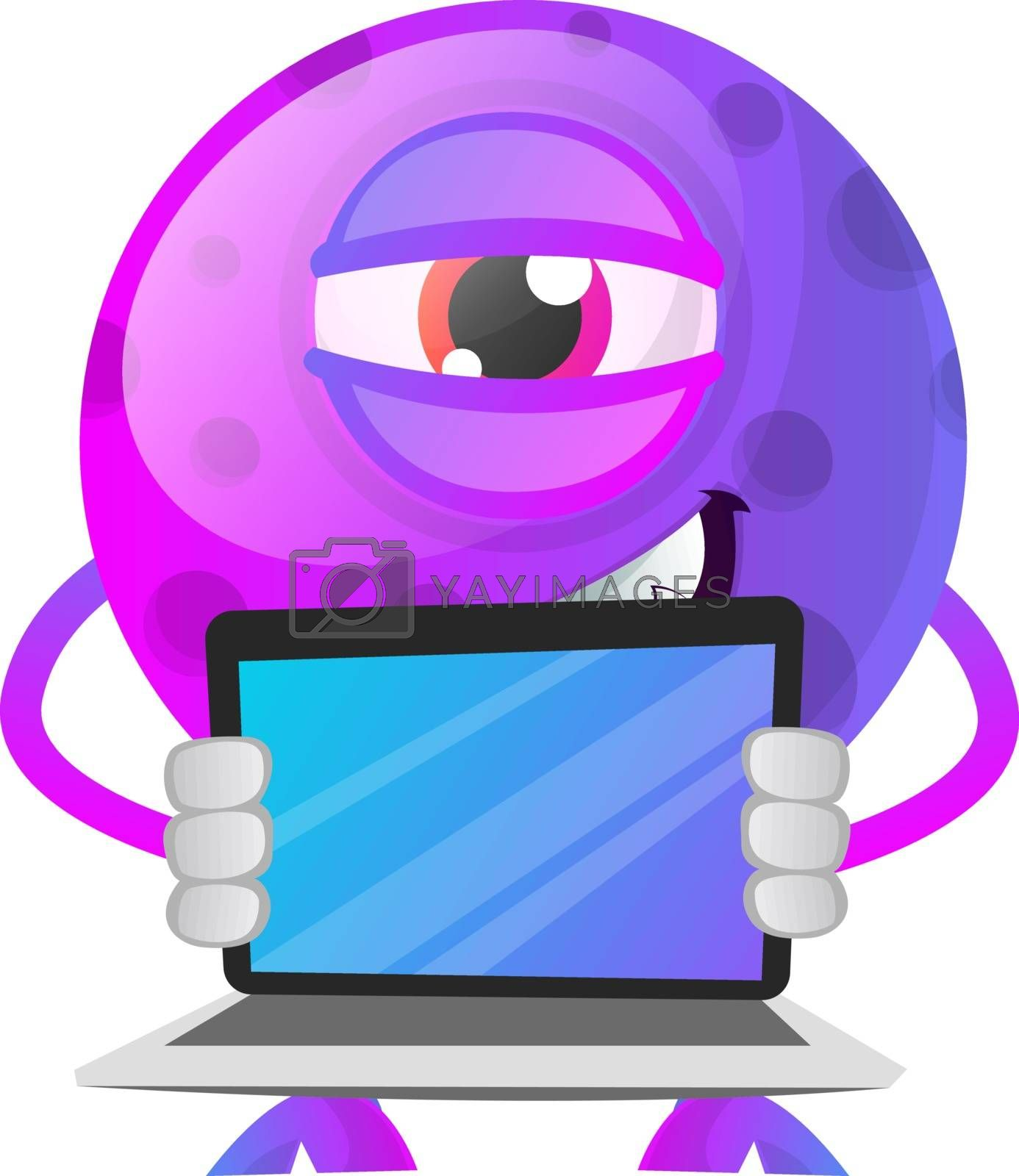 Royalty free image of Purple monster with a laptop illustration vector on white backgr by Morphart