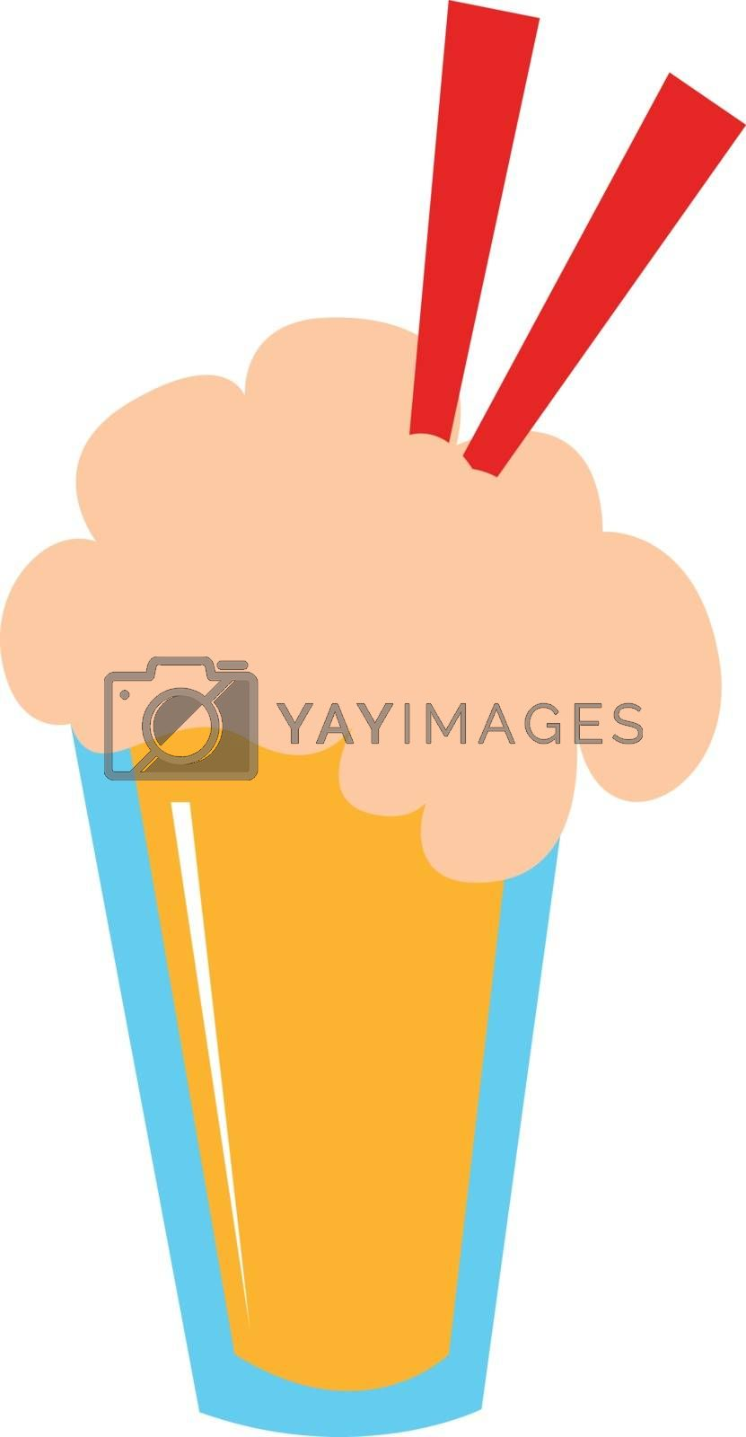 Royalty free image of Juice in a disposable plastic yellow party cup with two red stra by Morphart