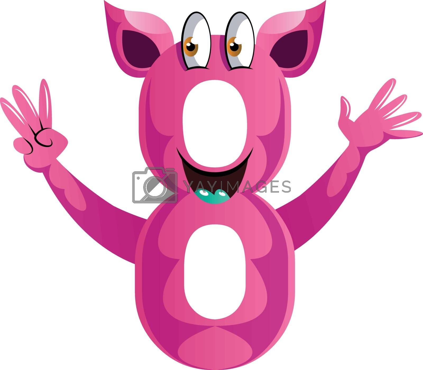 Royalty free image of Pink monster in number eight shape with hands up illustration ve by Morphart