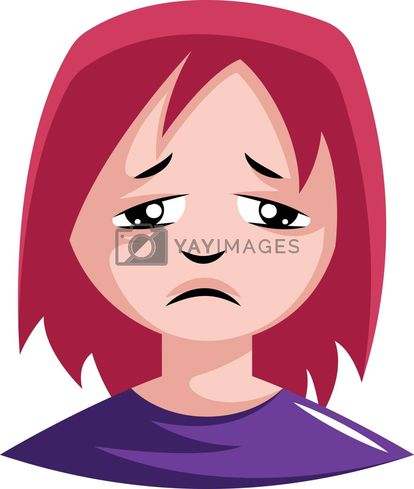 Royalty free image of Very sad girl in purple top illustration vector on white backgro by Morphart