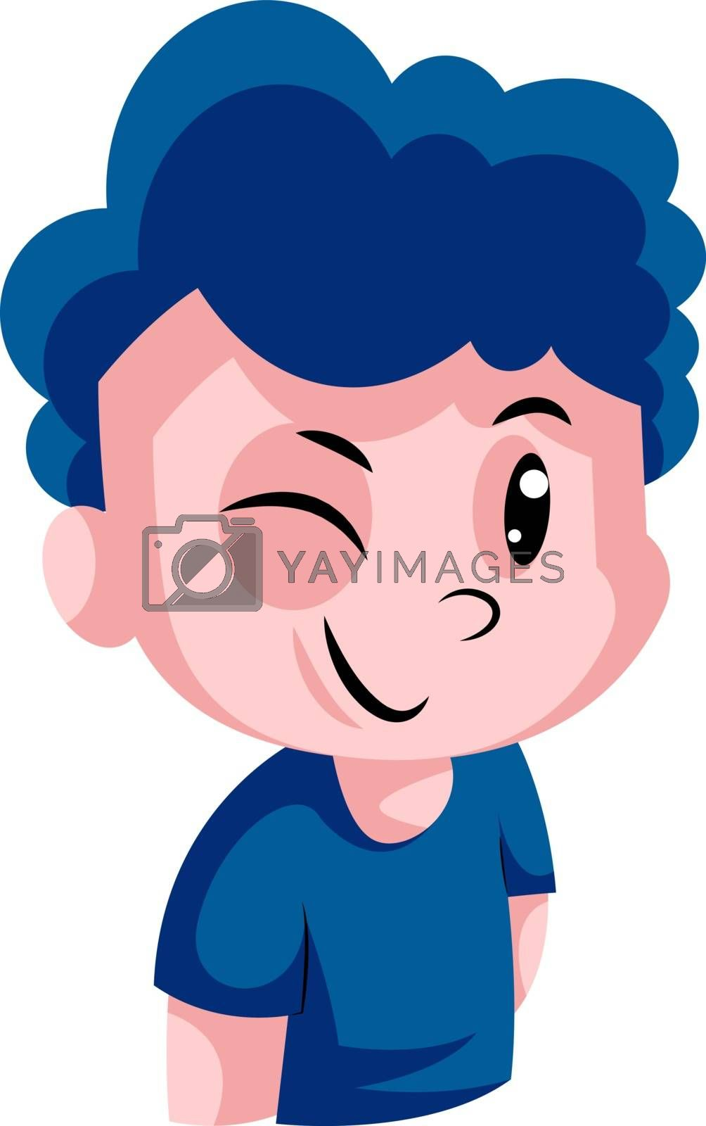 Royalty free image of Boy with a blue curly hair winking illustration vector on white  by Morphart