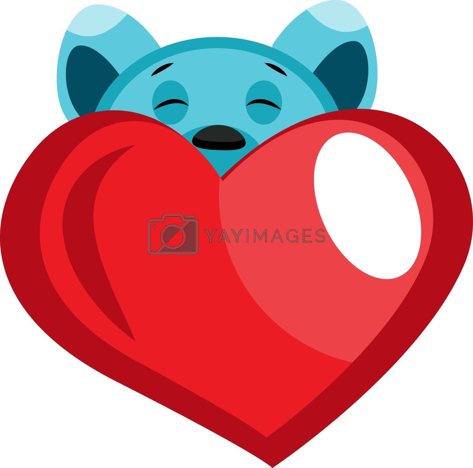 Royalty free image of Blue bear peeking behind red heart illustration vector on white  by Morphart