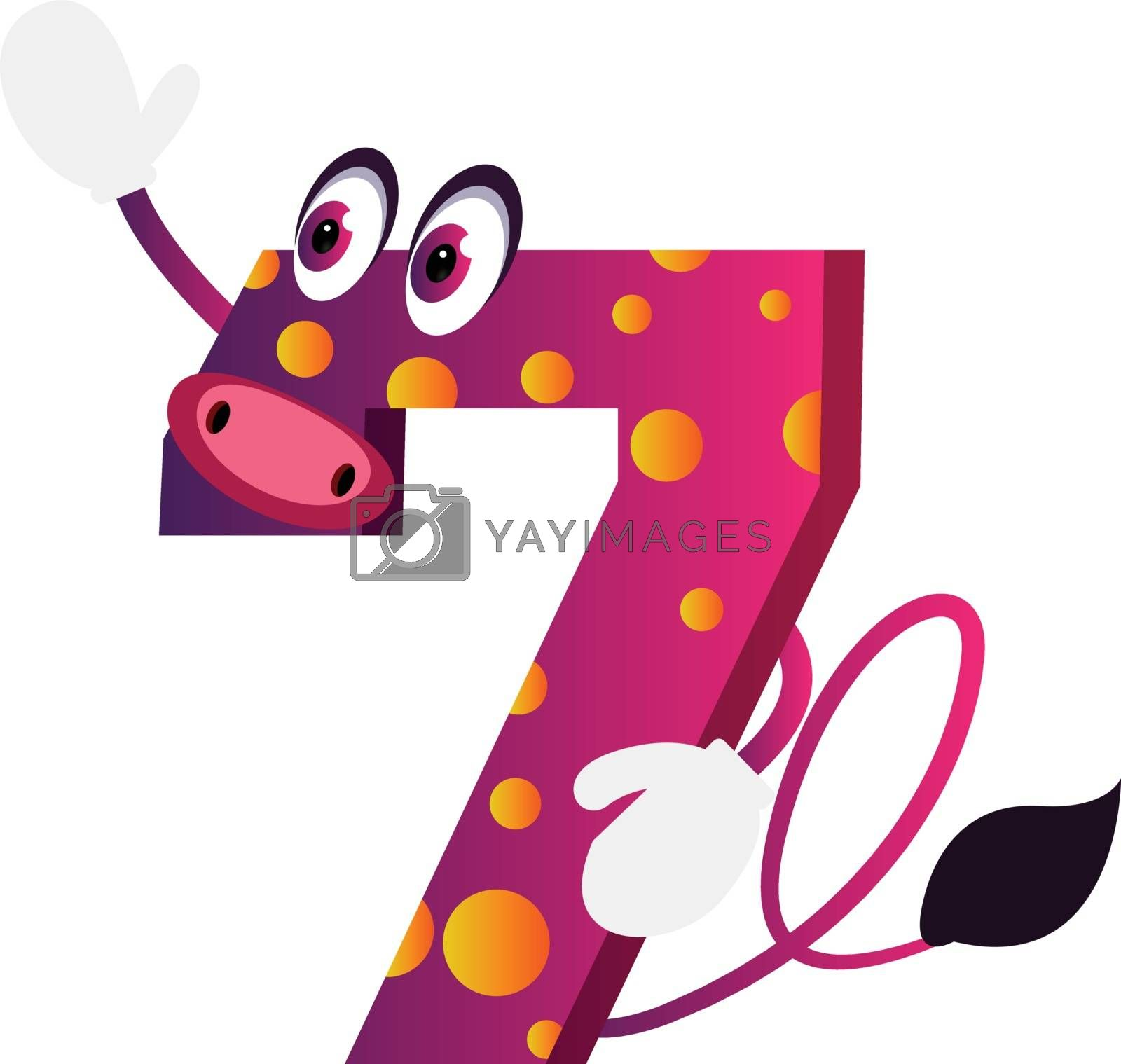 Royalty free image of Purple number seven monster waving illustration vector on white  by Morphart