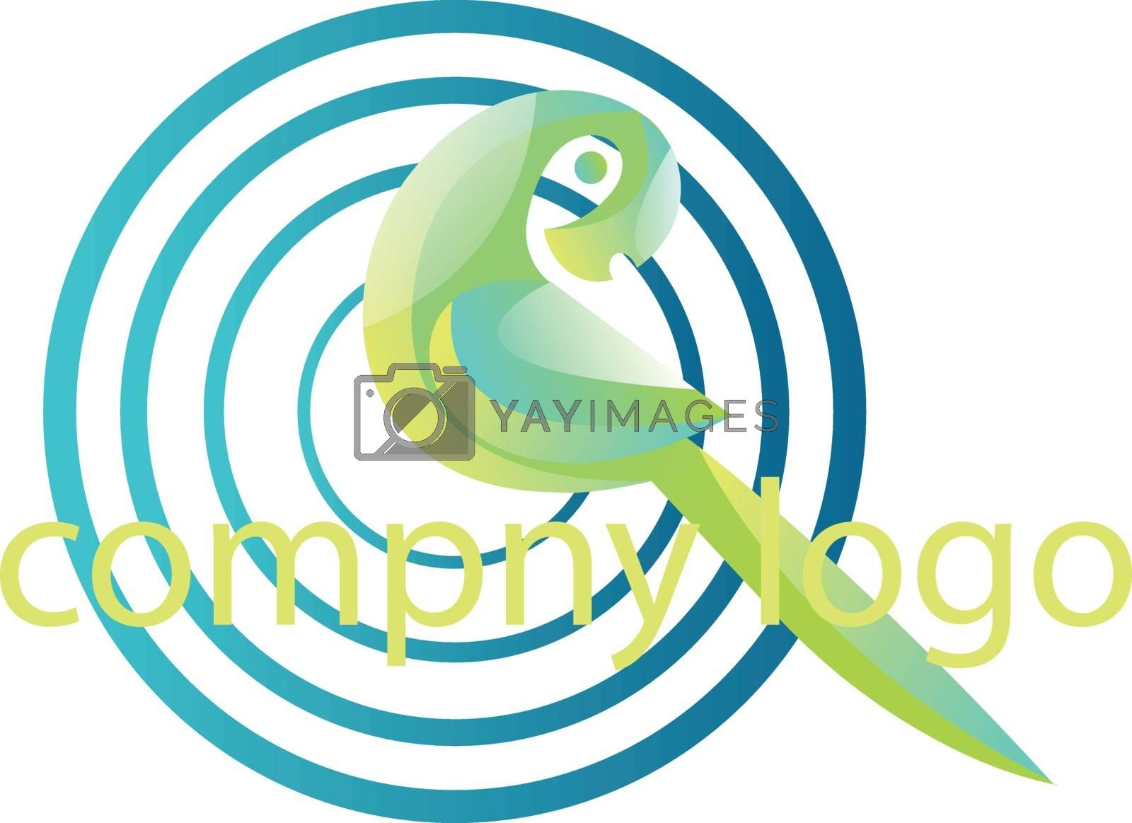 Royalty free image of Green parrot and blue circles vector logo illustration on a whit by Morphart