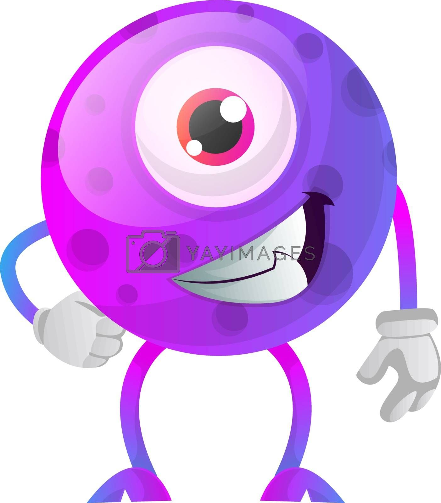Royalty free image of Chill out purple monster with one eye illustration vector on whi by Morphart