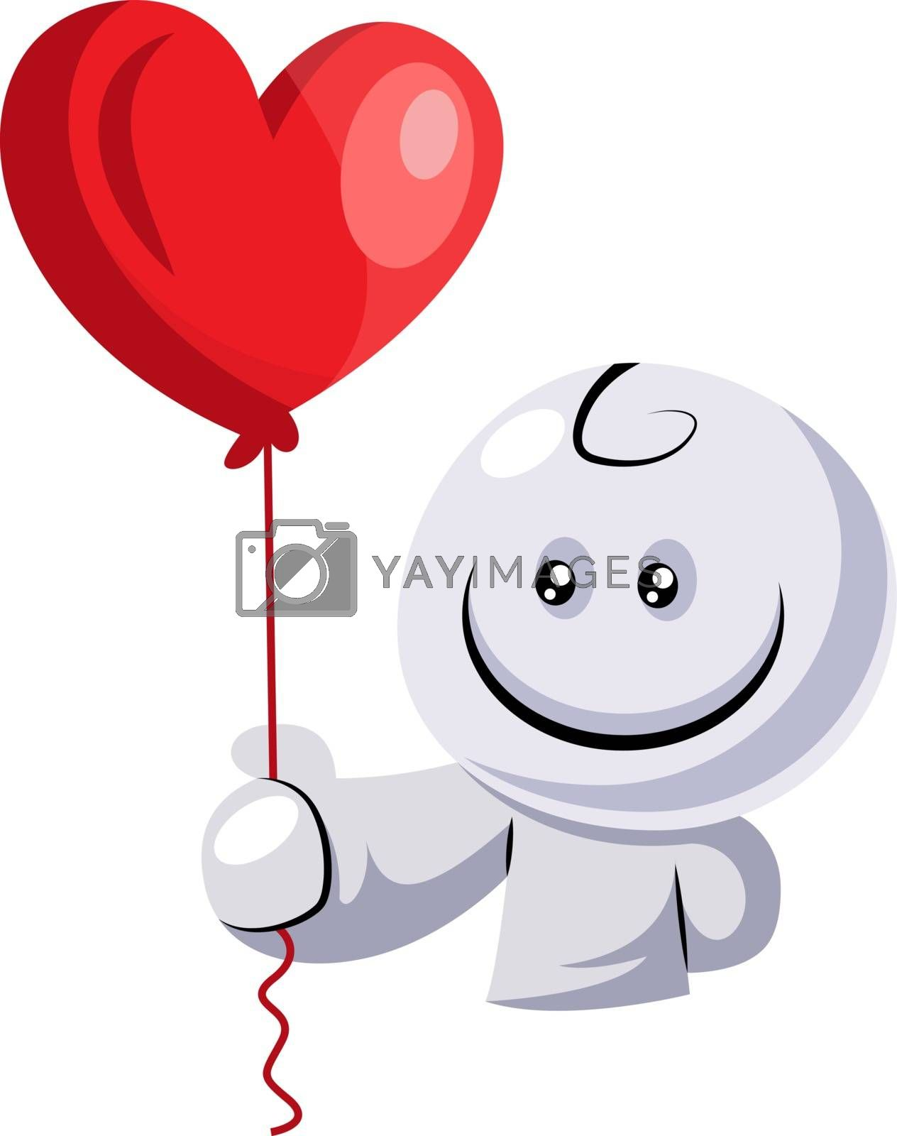 Royalty free image of White character holding red balloon illustration vector on white by Morphart