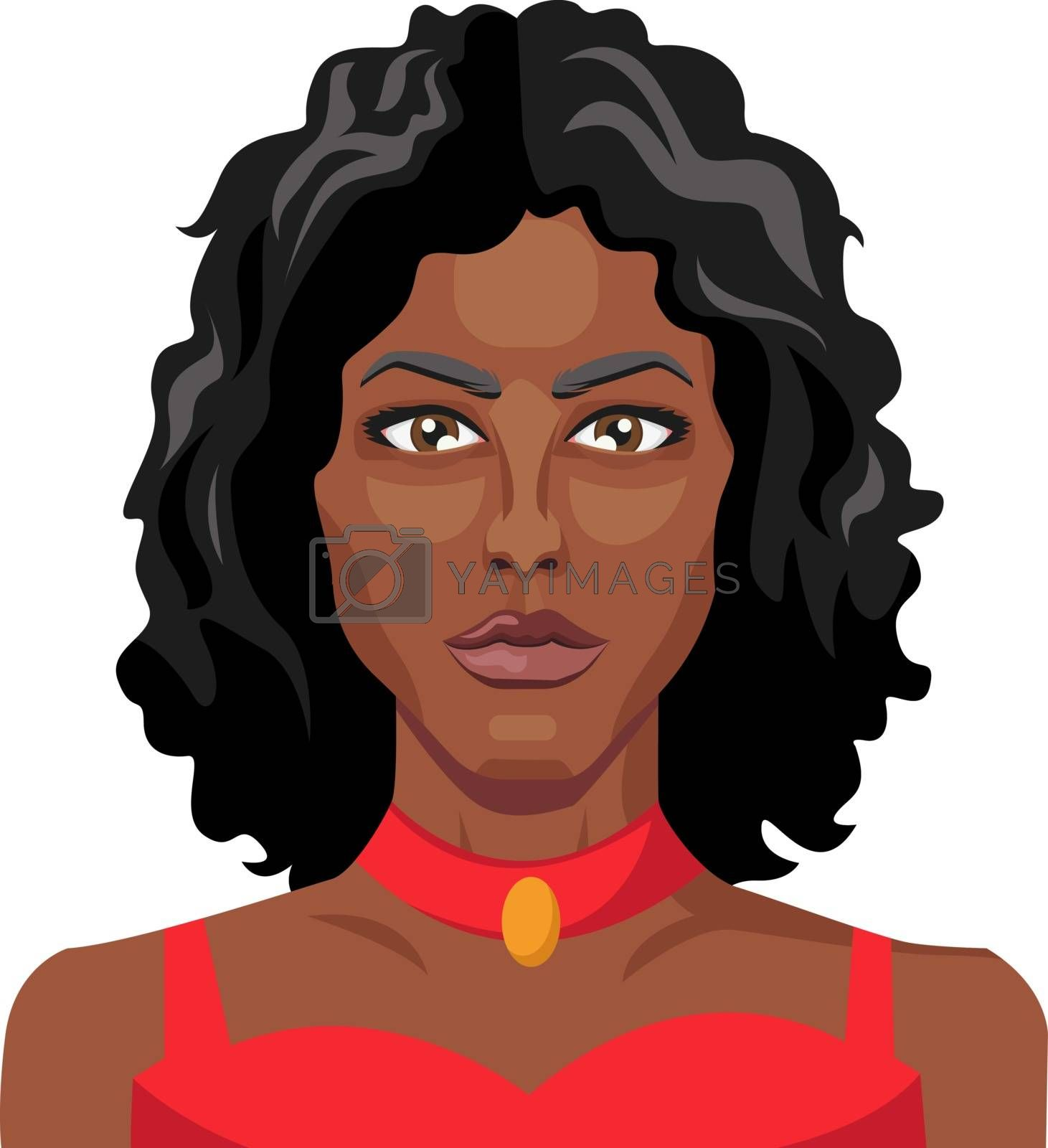 Royalty free image of African girl wearing red dress illustration vector on white back by Morphart