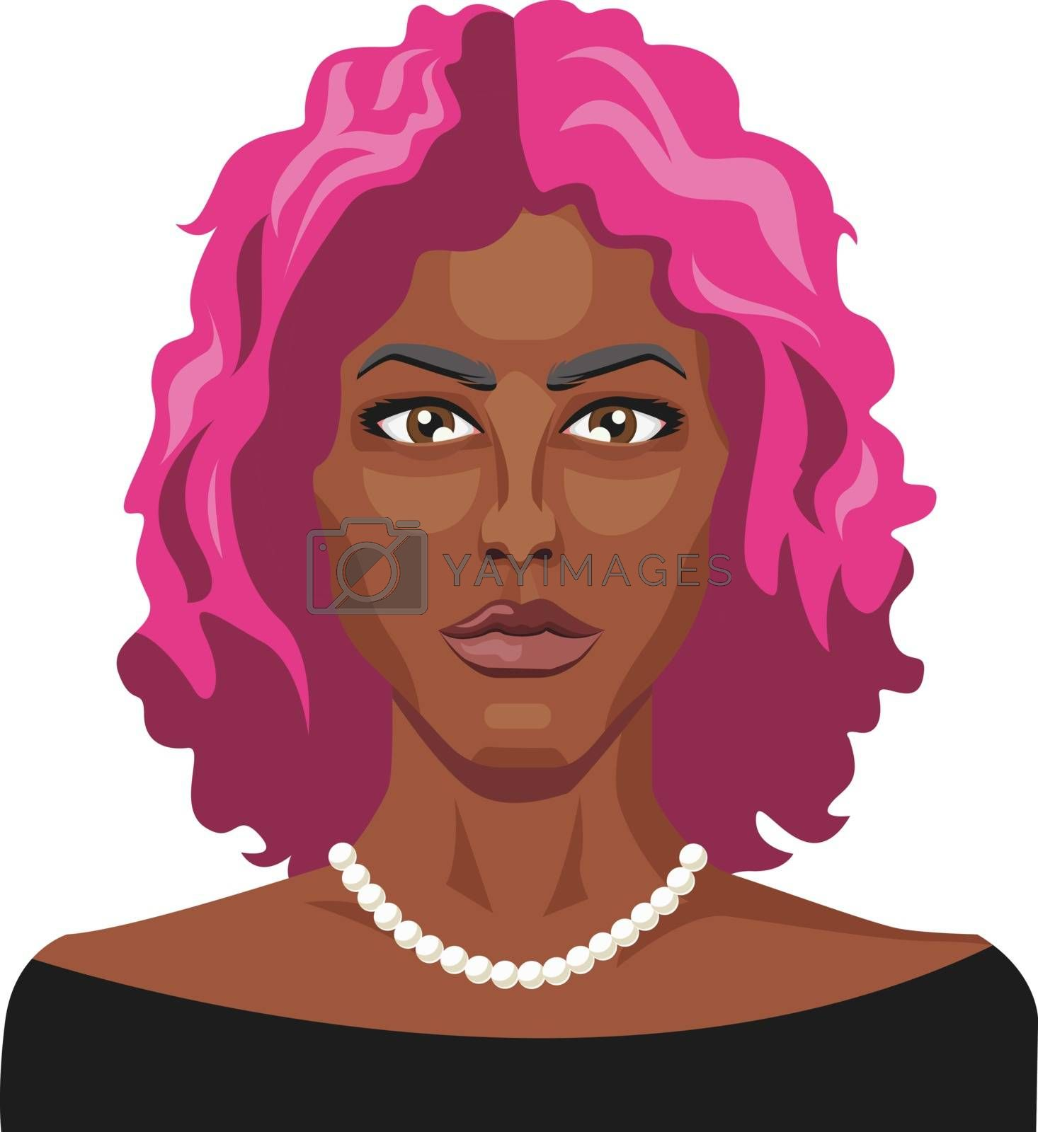 Royalty free image of African girl with pink hair illustration vector on white backgro by Morphart