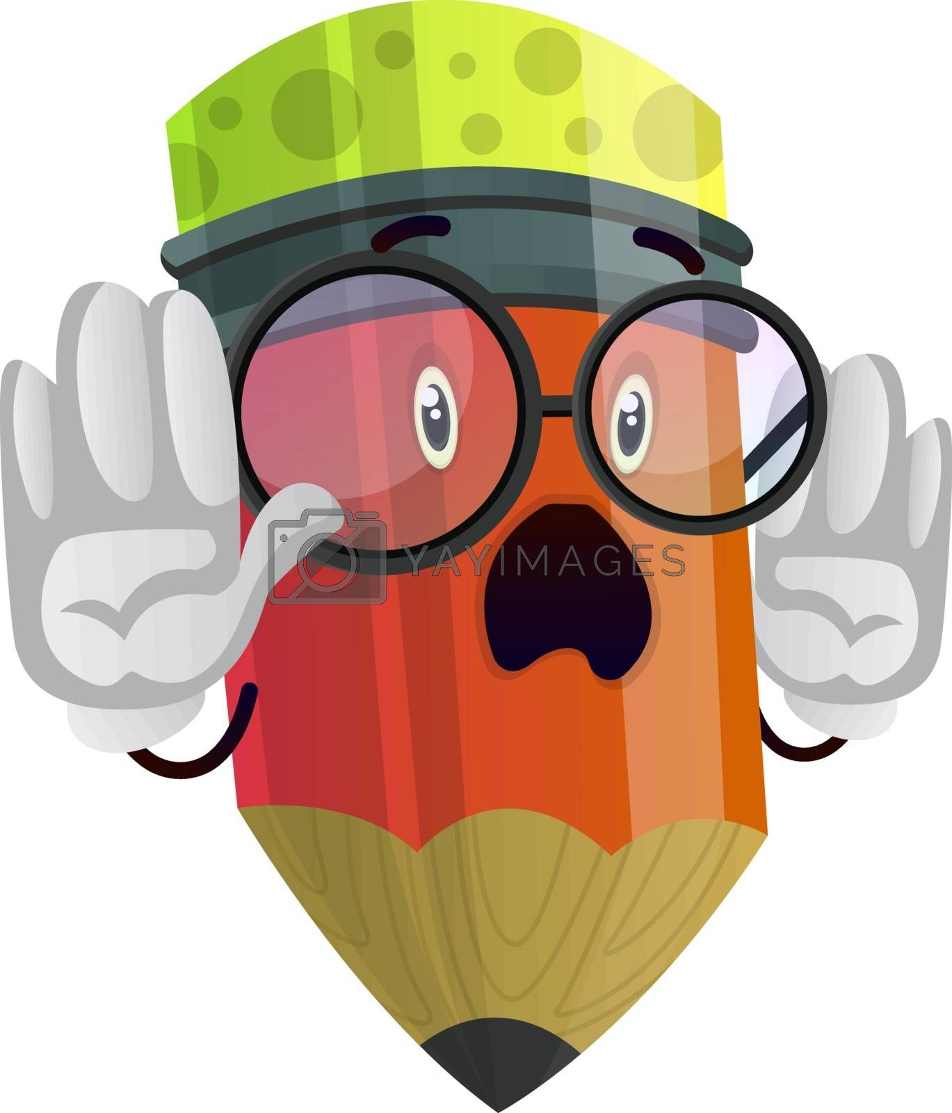 Royalty free image of Pencil holding his hands up illustration vector on white backgro by Morphart