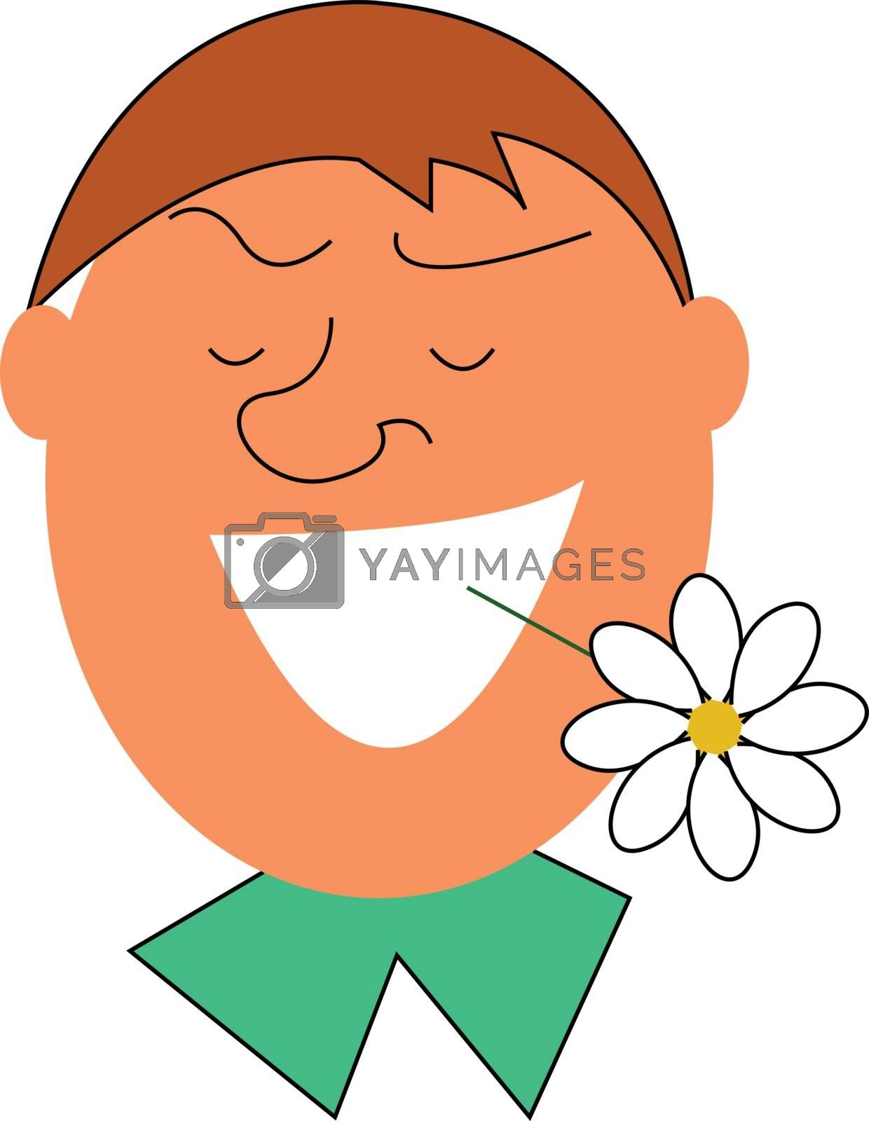 Royalty free image of Man with a white flower in his mouth illustration vector on whit by Morphart