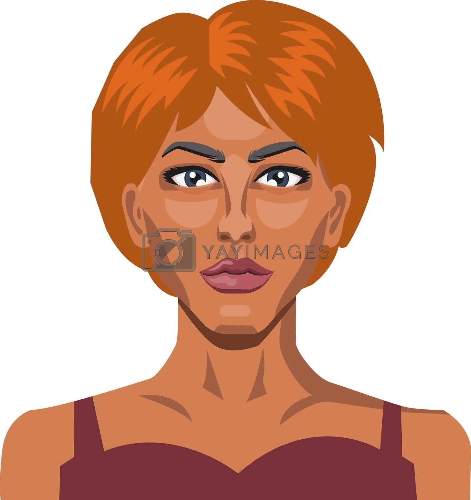 Royalty free image of Girl with short red hair illustration vector on white background by Morphart