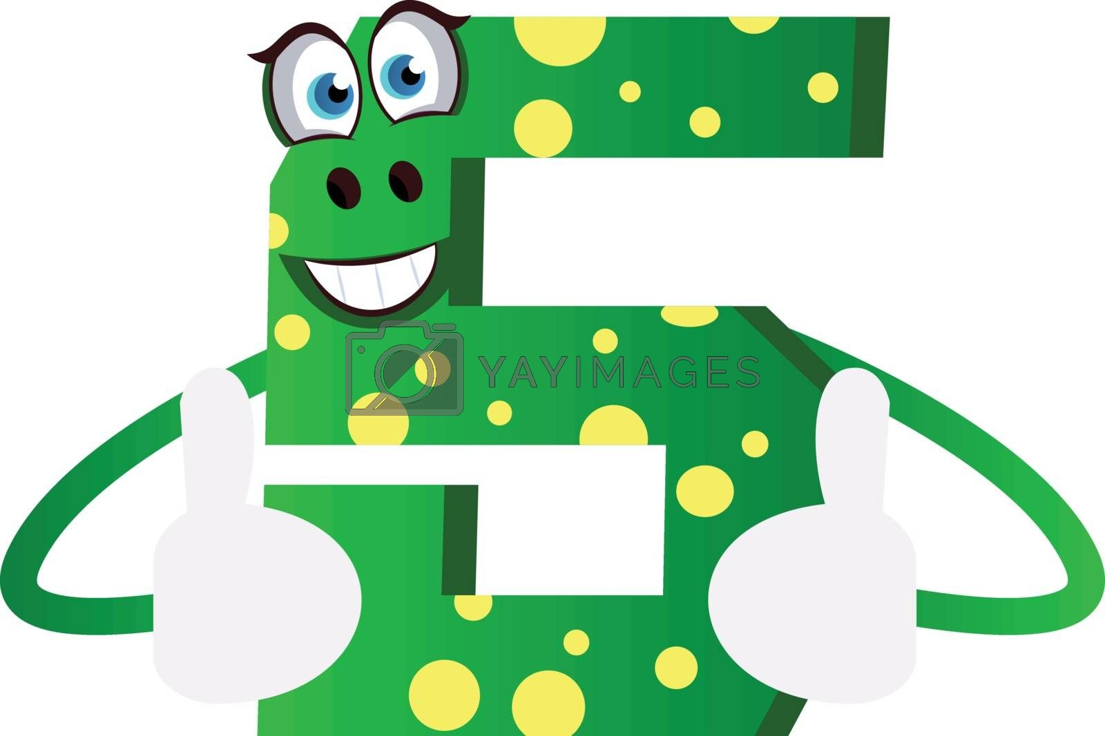 Royalty free image of Number five green monster showing thumbs up illustration vector  by Morphart