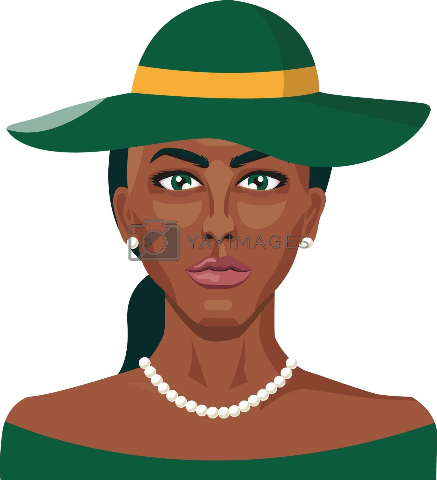 Royalty free image of African girl wearing green hat illustration vector on white back by Morphart