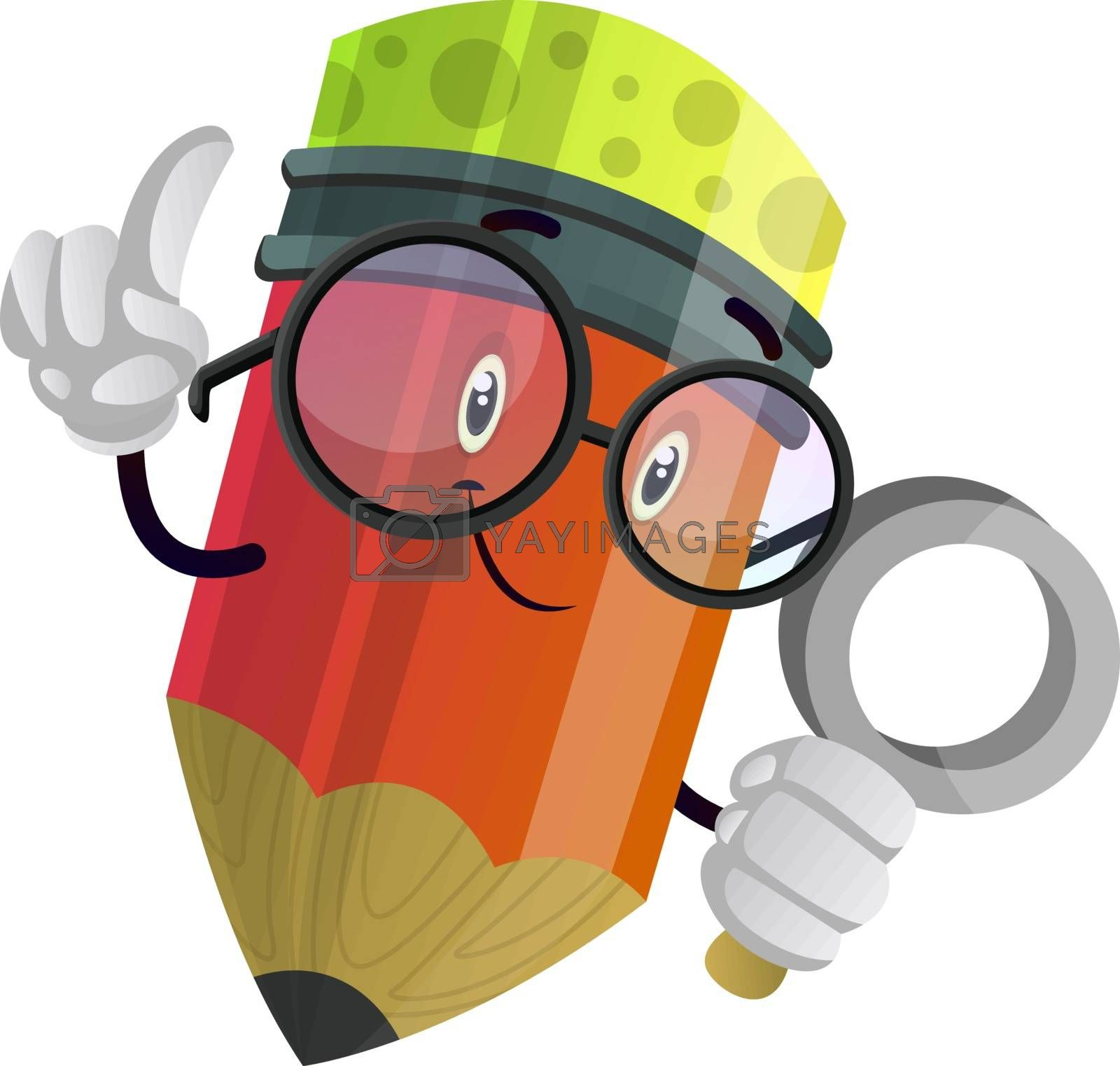 Royalty free image of Red pencil looking at something with a magnifier illustration ve by Morphart