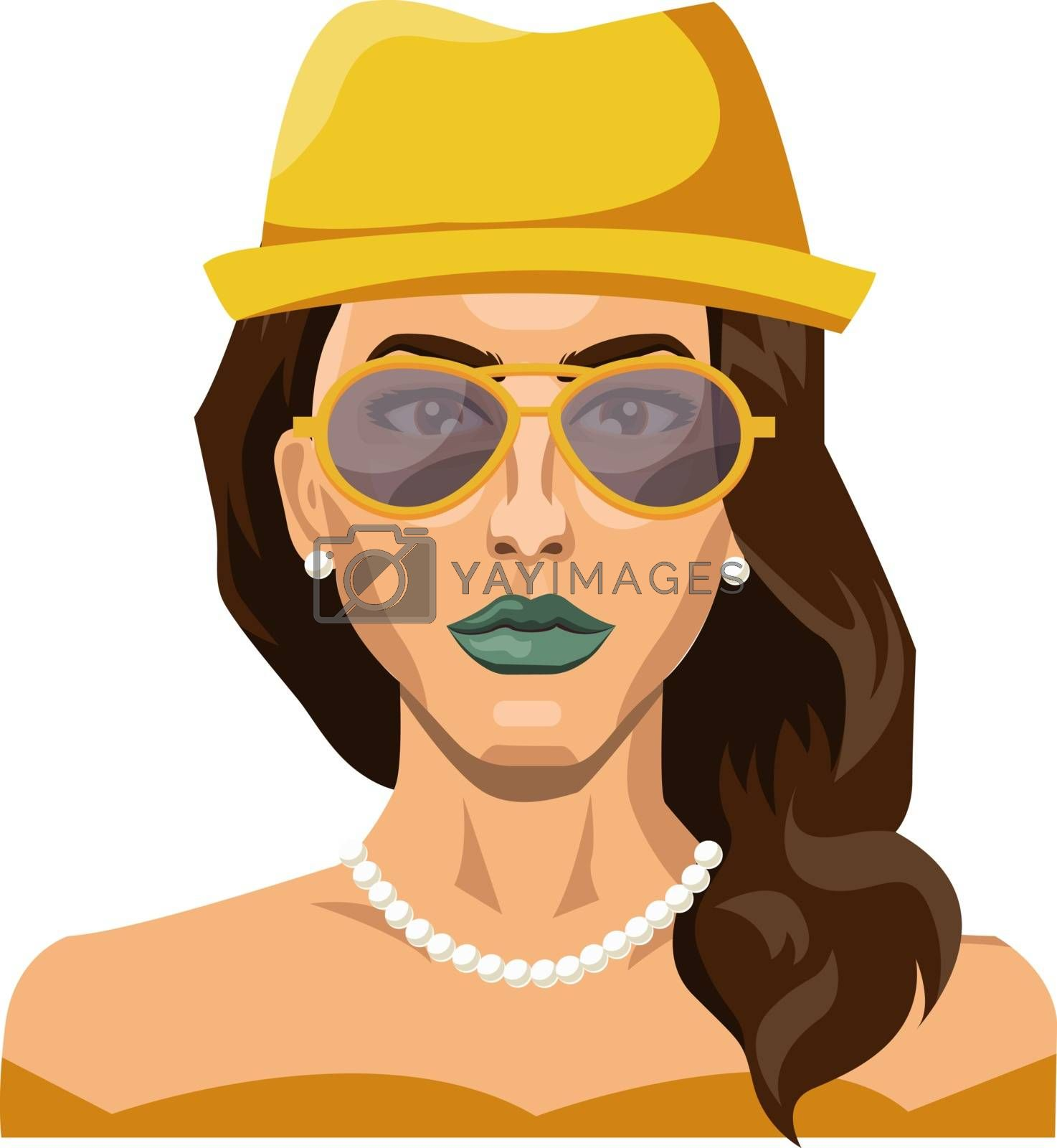 Royalty free image of Pretty girl wearing yellow hat and glasses illustration vector o by Morphart