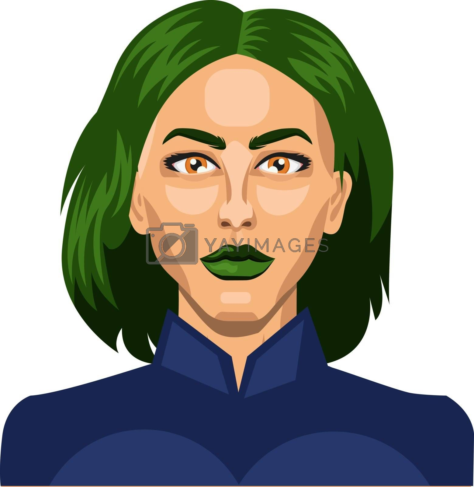Royalty free image of Pretty girl with short green hair illustration vector on white b by Morphart