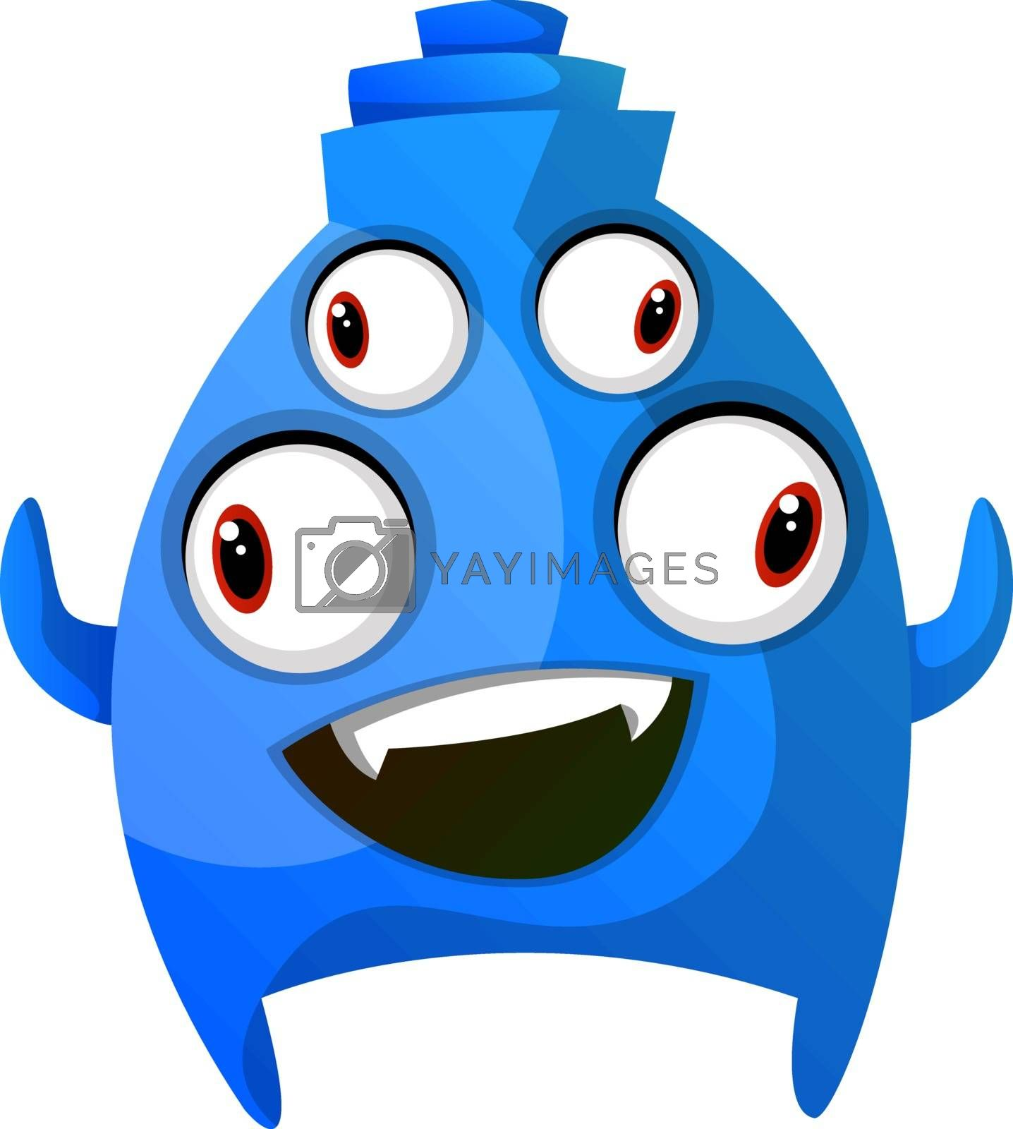 Royalty free image of Blue smiling monster with four eyes illustration vector on white by Morphart